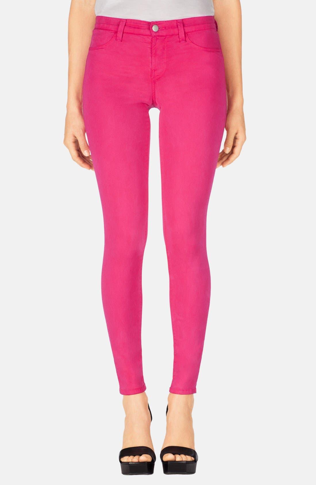 Main Image - J Brand '485' Mid Rise Super Skinny Jeans (Wildflower)
