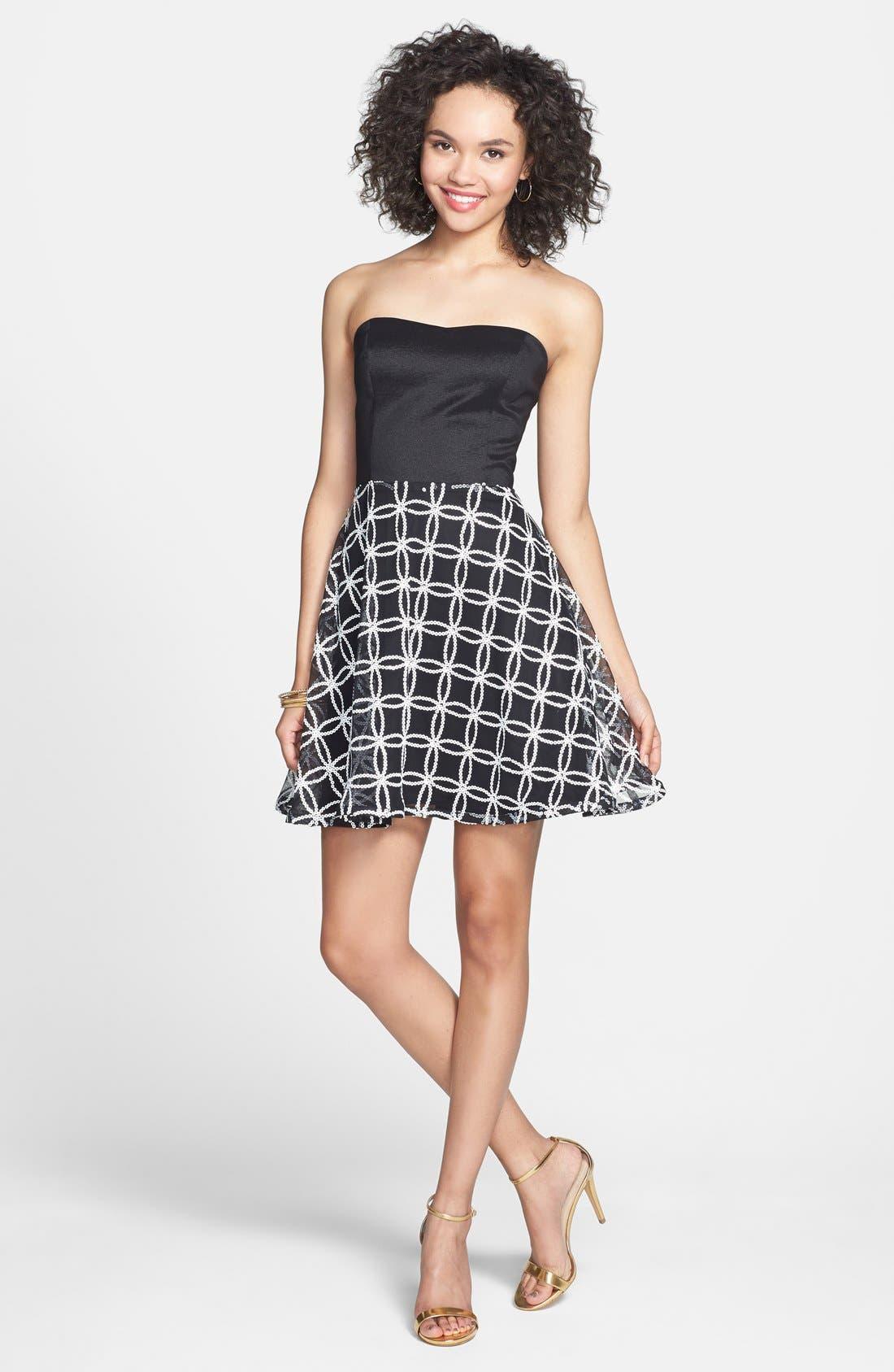 Main Image - Hailey Logan Sequin Pattern Fit & Flare Dress (Juniors)