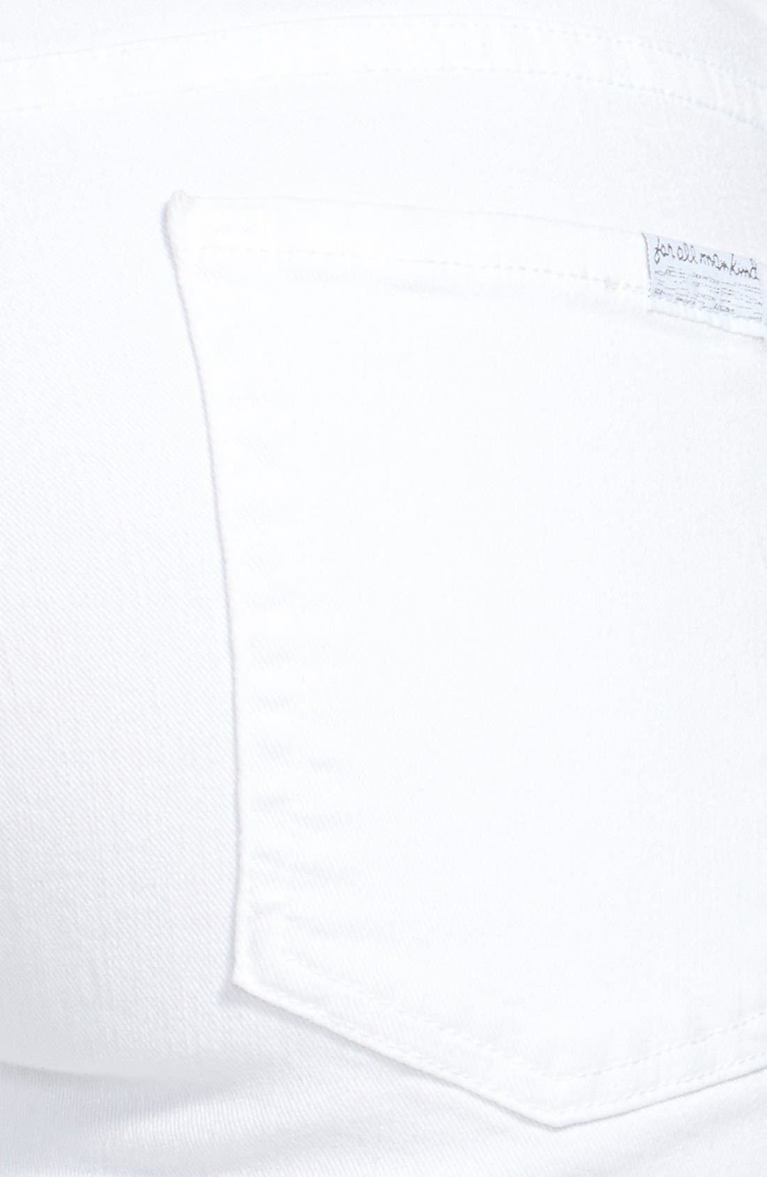 Alternate Image 3  - 7 For All Mankind® Crop Roll-Hem Skinny Jeans (Clean White)