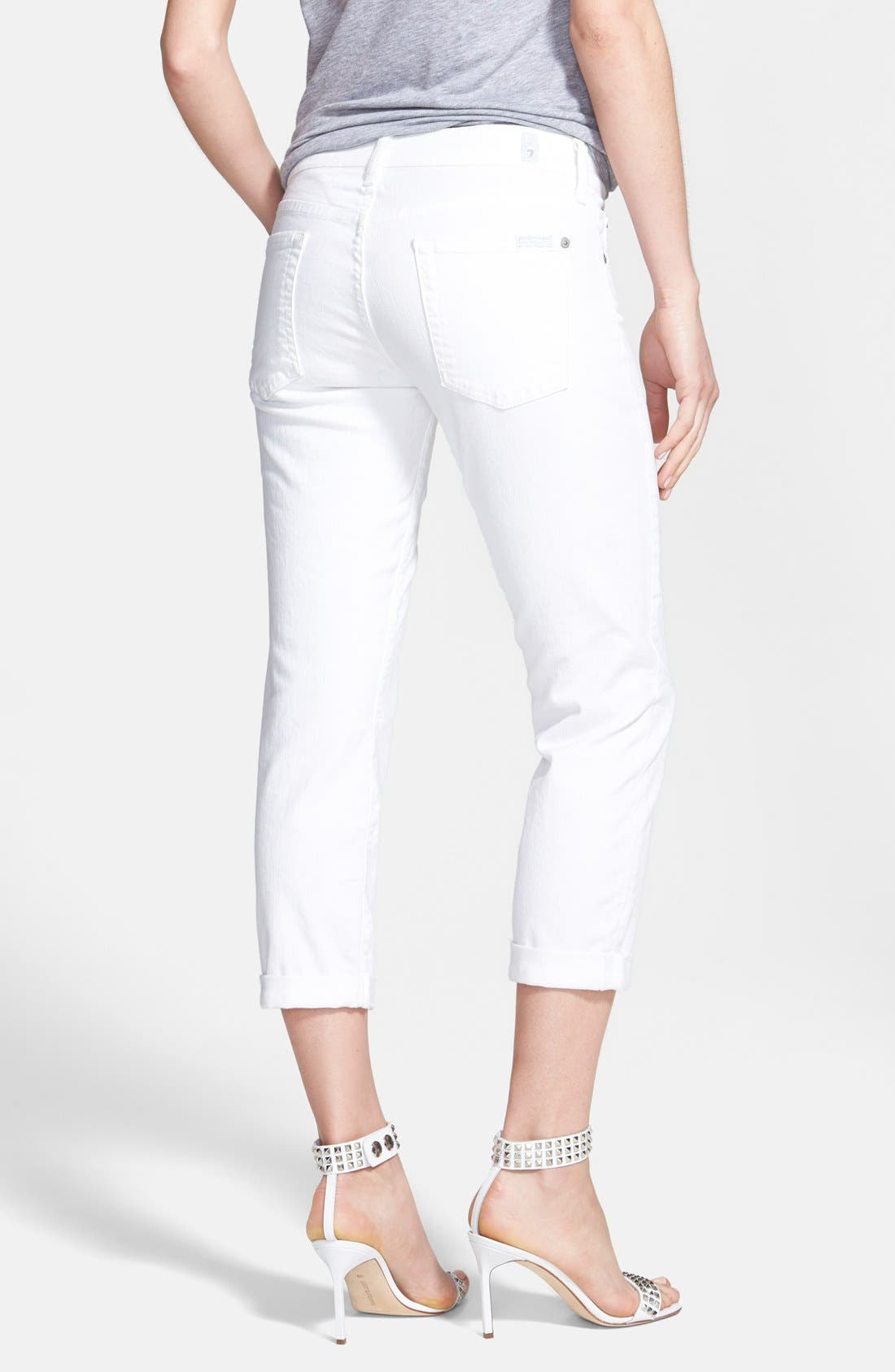 Alternate Image 2  - 7 For All Mankind® Crop Roll-Hem Skinny Jeans (Clean White)