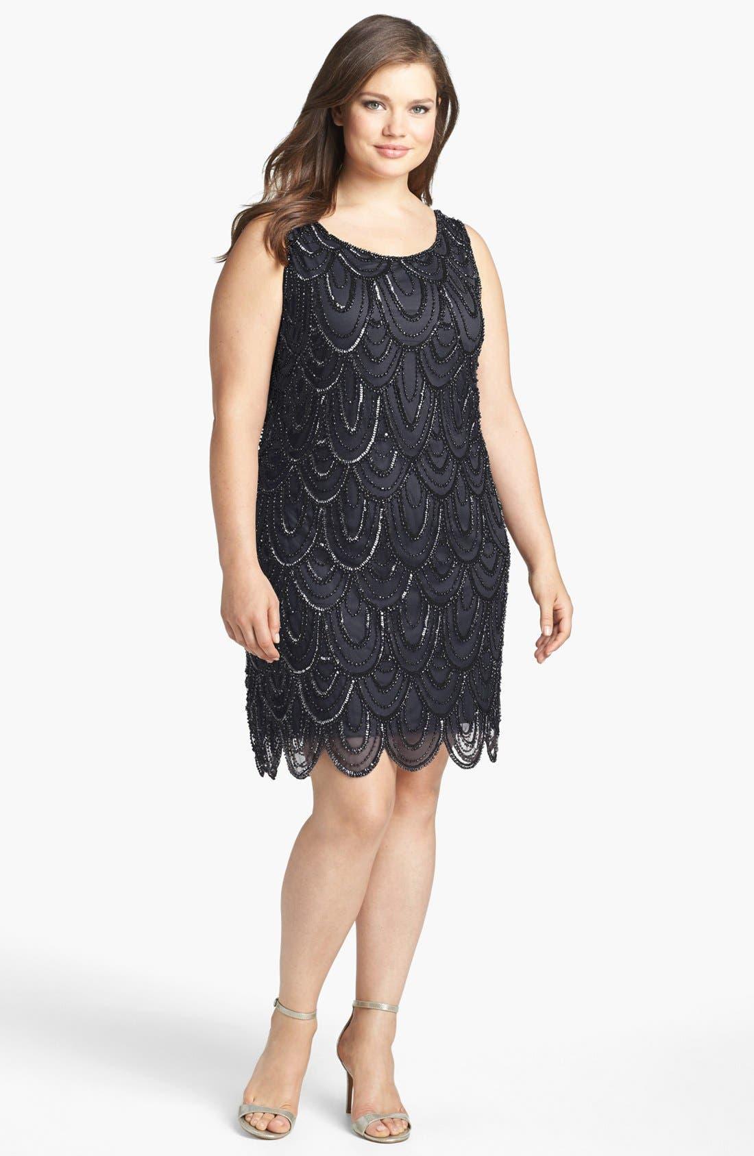 Alternate Image 1 Selected - Pisarro Nights Beaded Sheath Dress (Plus Size)