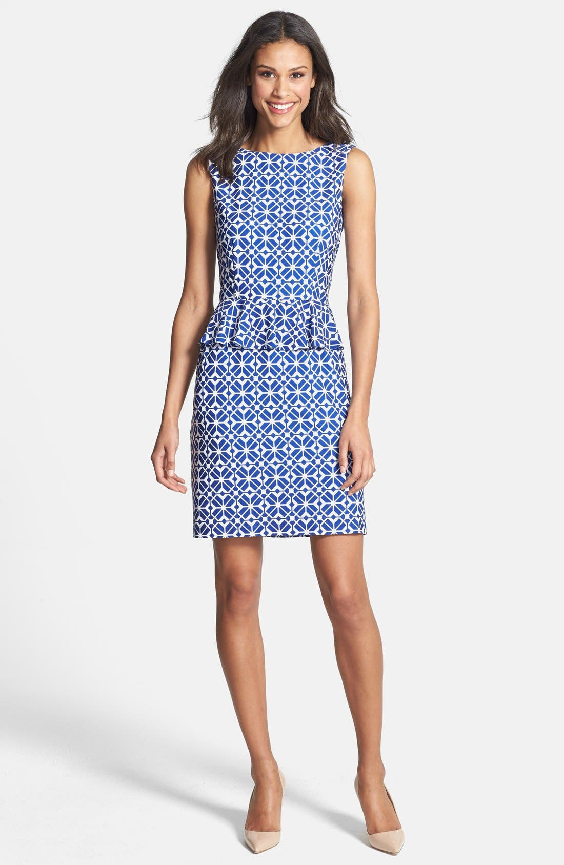Alternate Image 3  - Donna Morgan Print Jersey Peplum Sheath Dress