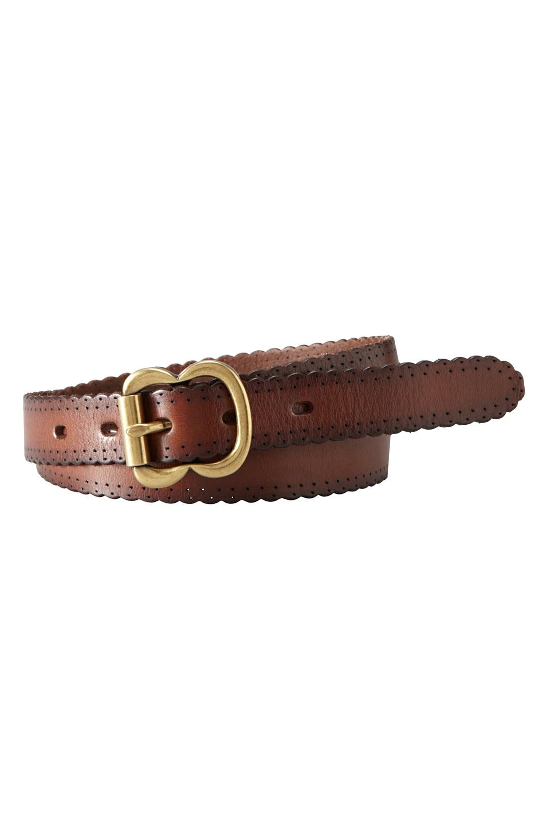 Main Image - Fossil Scallop Edge Leather Belt
