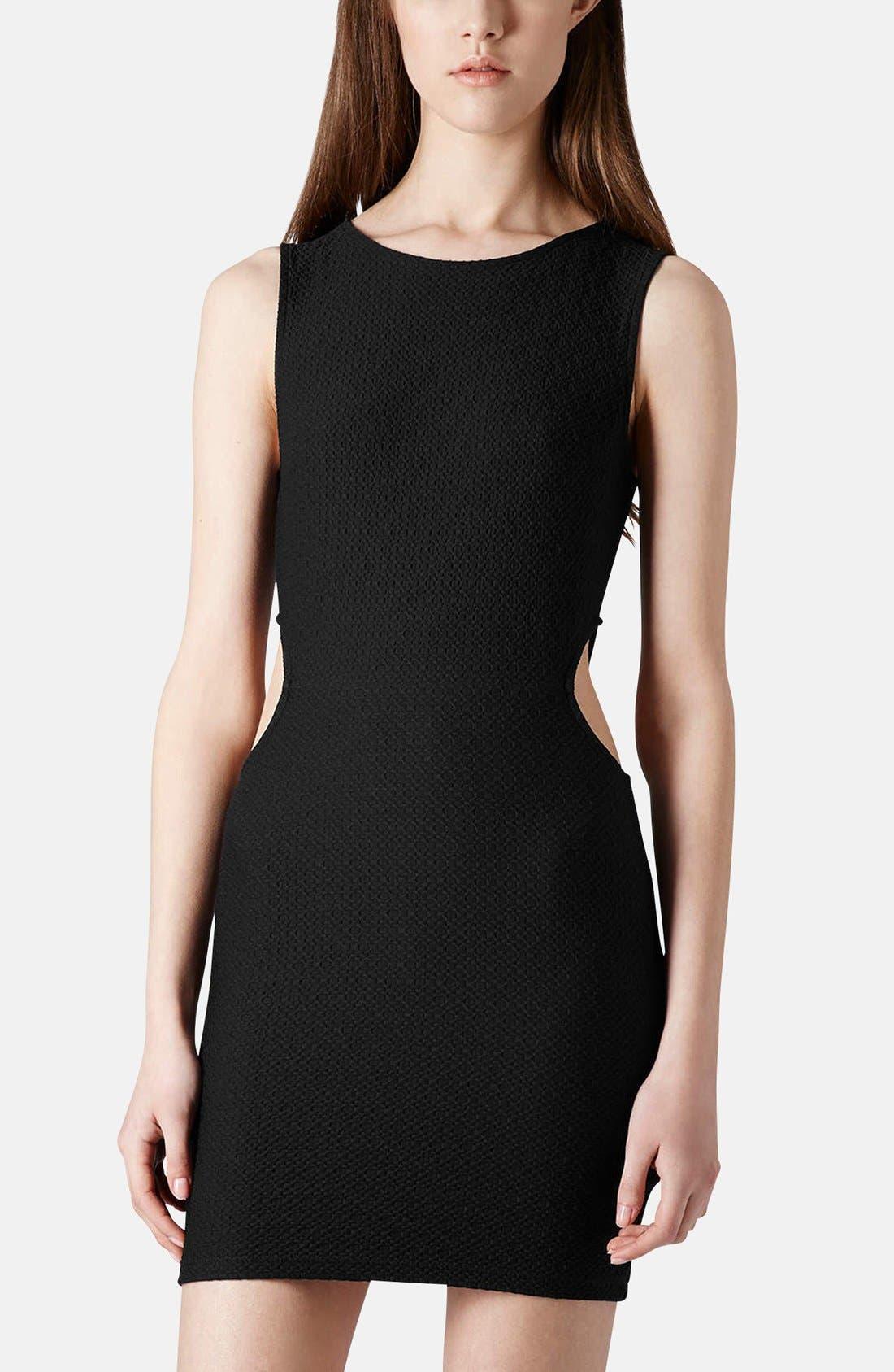 Main Image - Topshop Textured Cutout Body-Con Dress