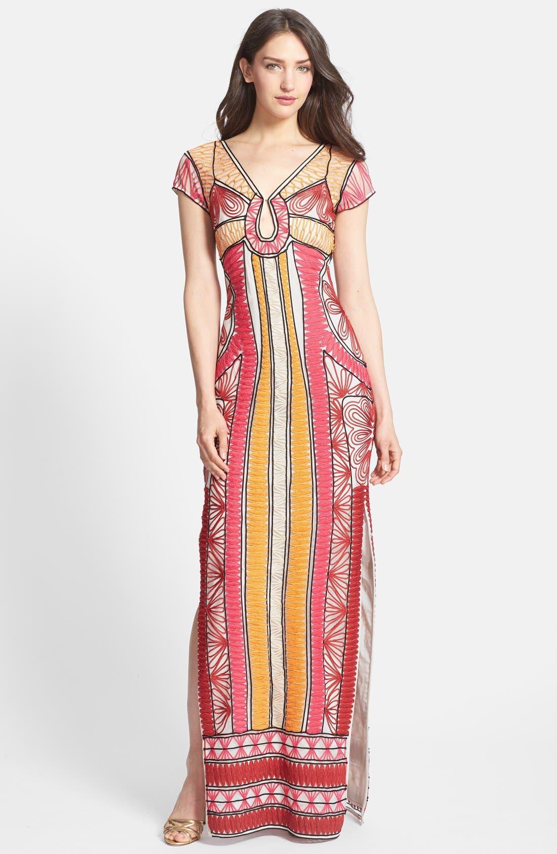 Main Image - Diane von Furstenberg 'Ellison Passementry' Embellished Woven Column Gown