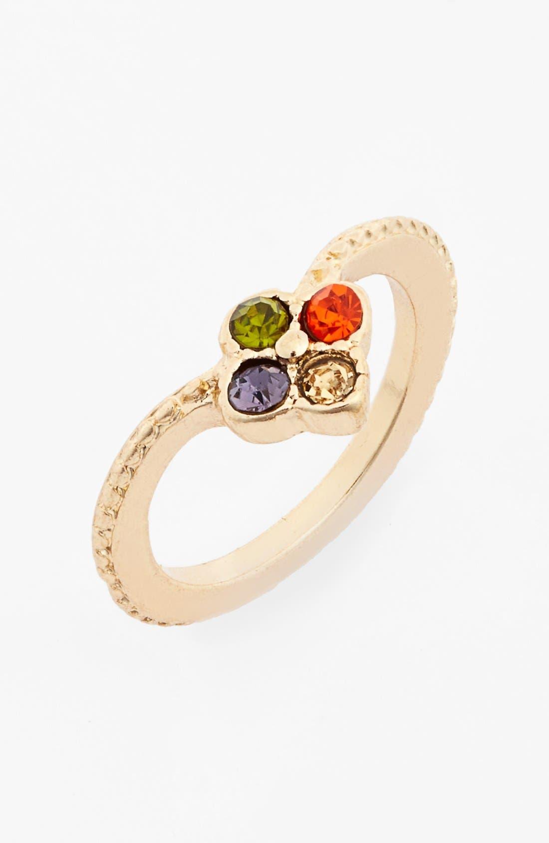 Alternate Image 1 Selected - Topshop Floral V Ring