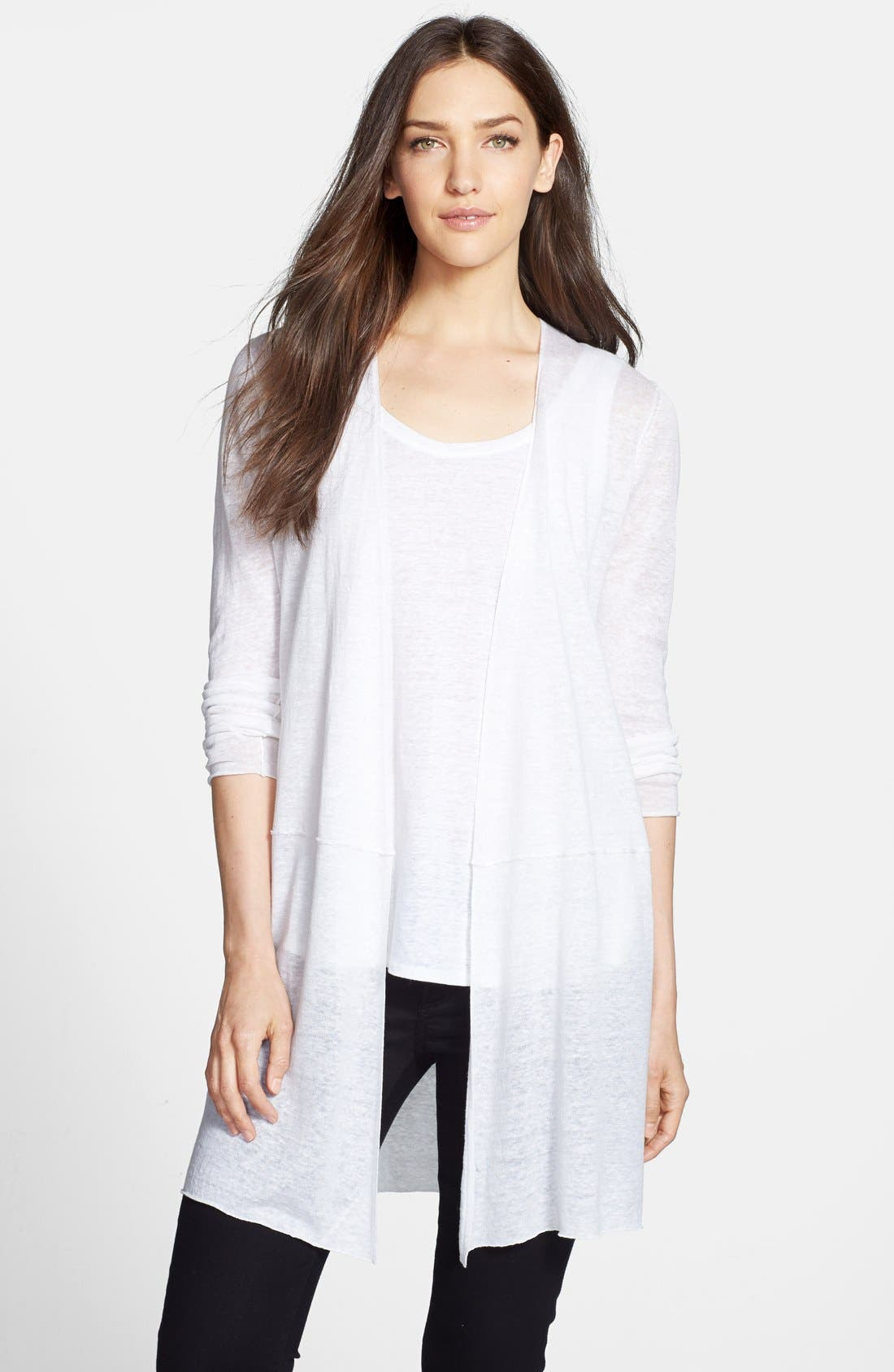 Alternate Image 1 Selected - Eileen Fisher Long Linen Cardigan
