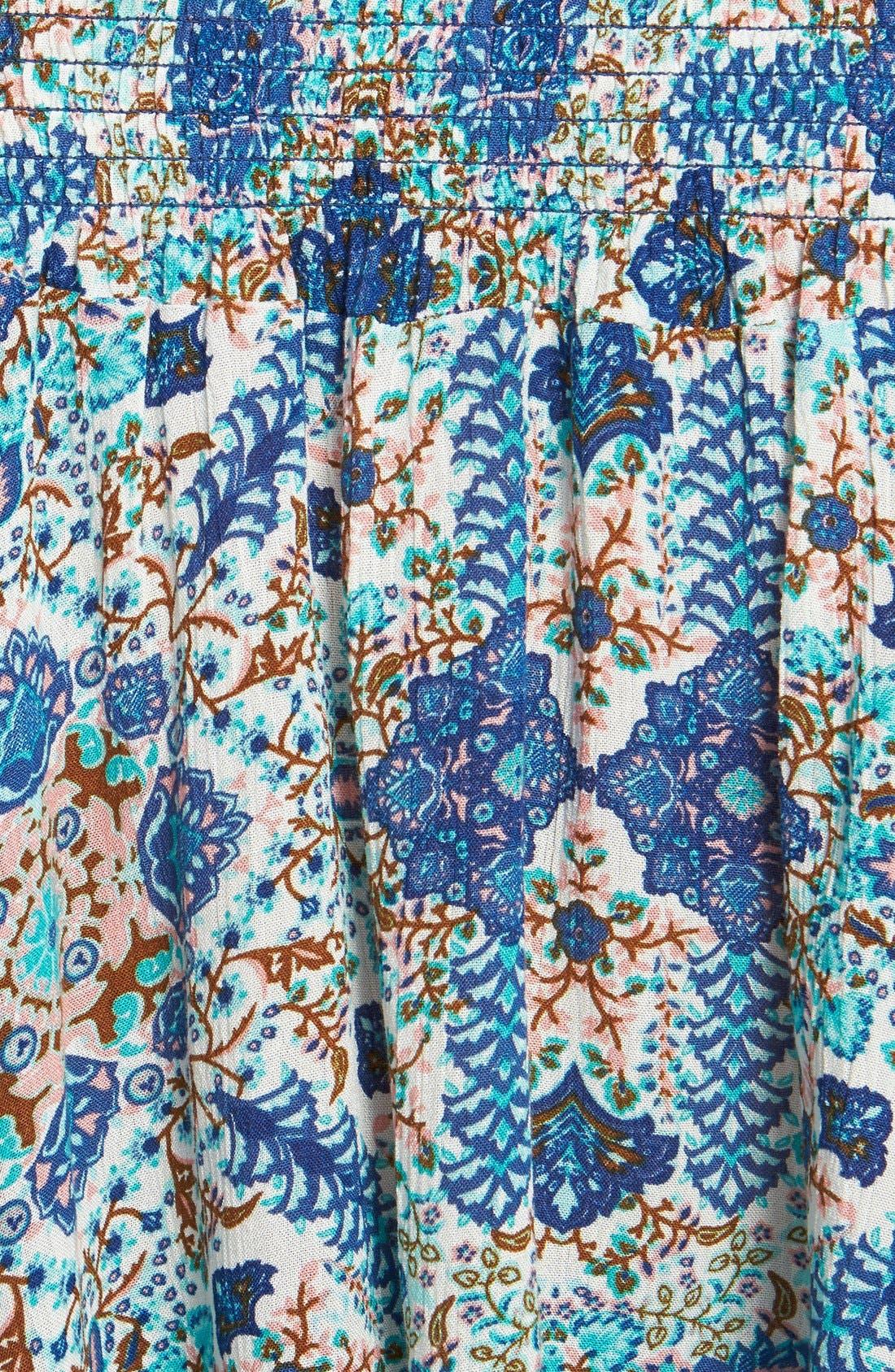 Alternate Image 3  - Band of Gypsies Floral Print Smocked Off-the-Shoulder Top (Juniors)