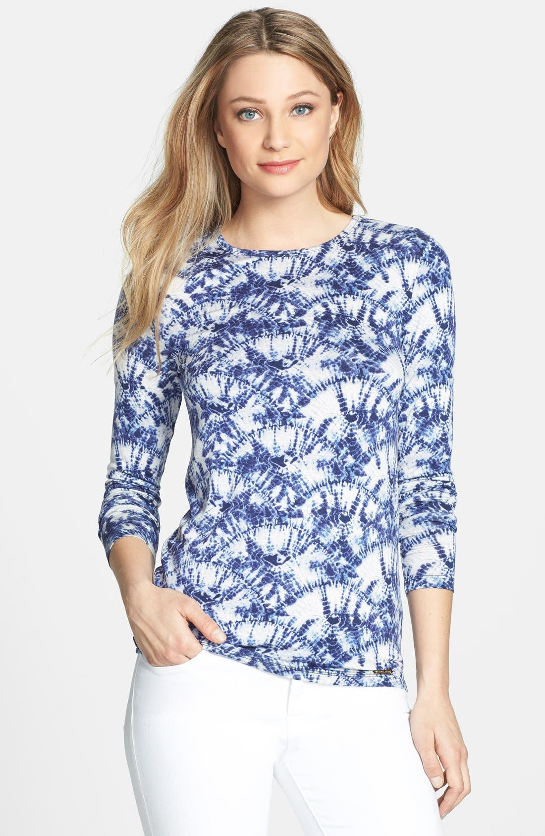 Alternate Image 1 Selected - MICHAEL Michael Kors Print Crewneck Long Sleeve Tee (Regular & Petite)