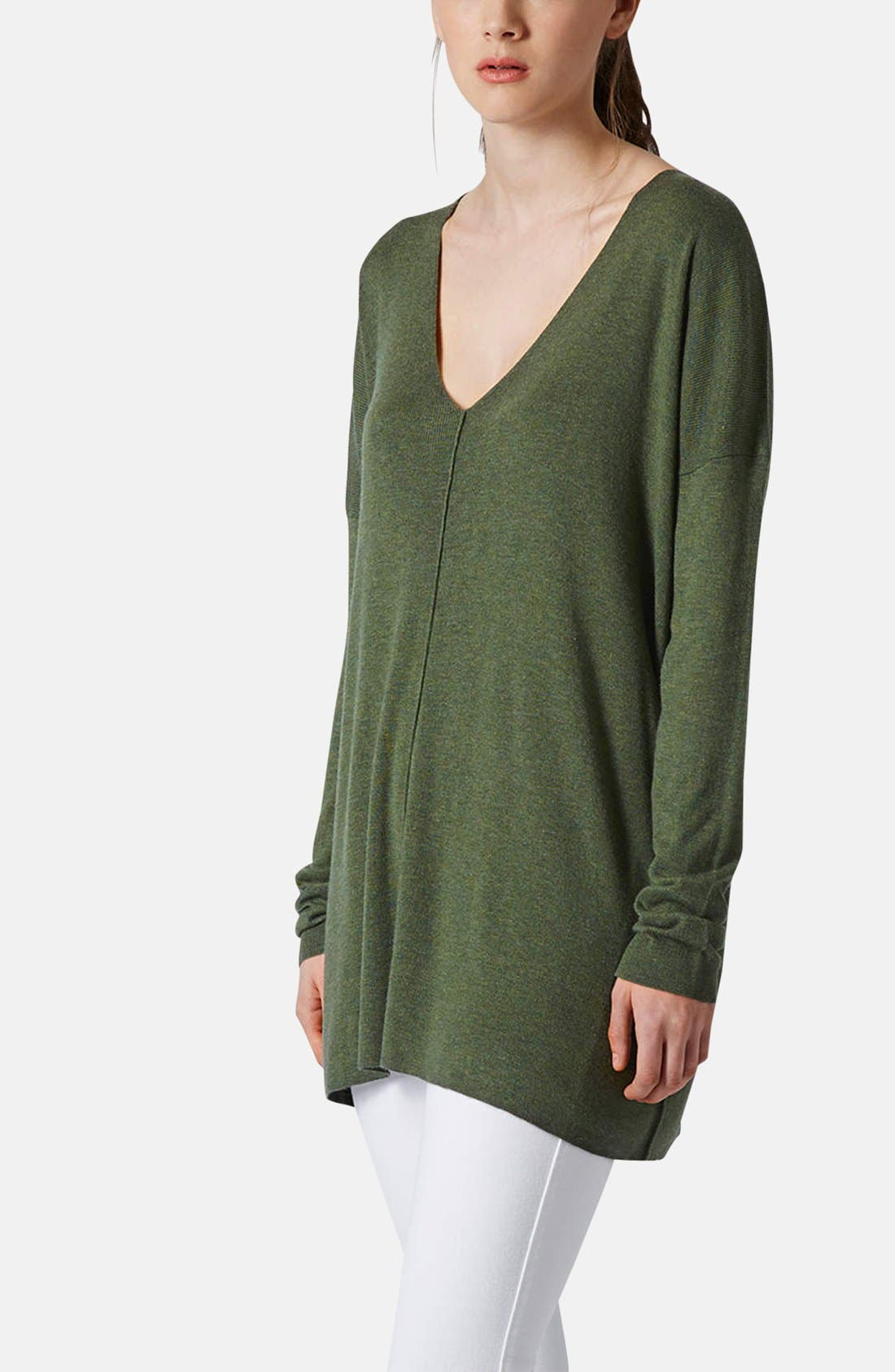 Alternate Image 1 Selected - Topshop V-Neck Tunic Sweater