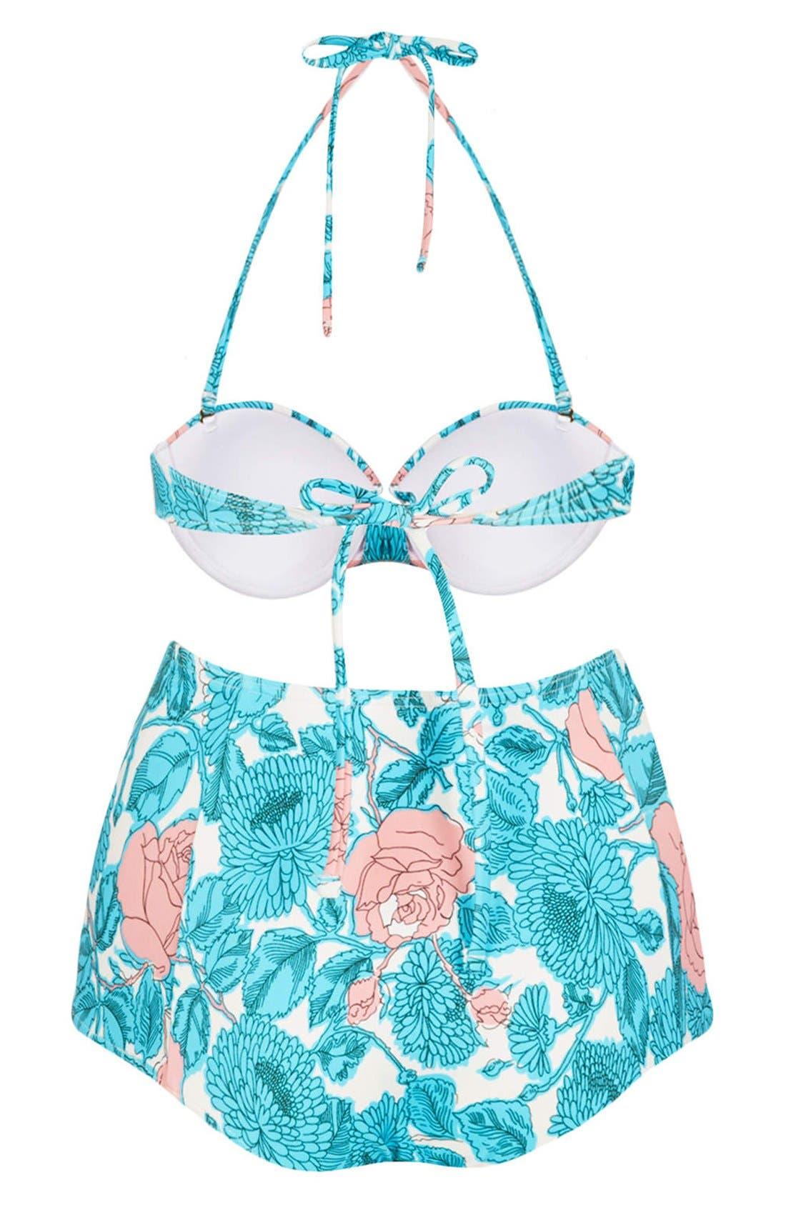 Alternate Image 2  - Topshop 'Savannah' Plunge High Waist Floral Bikini