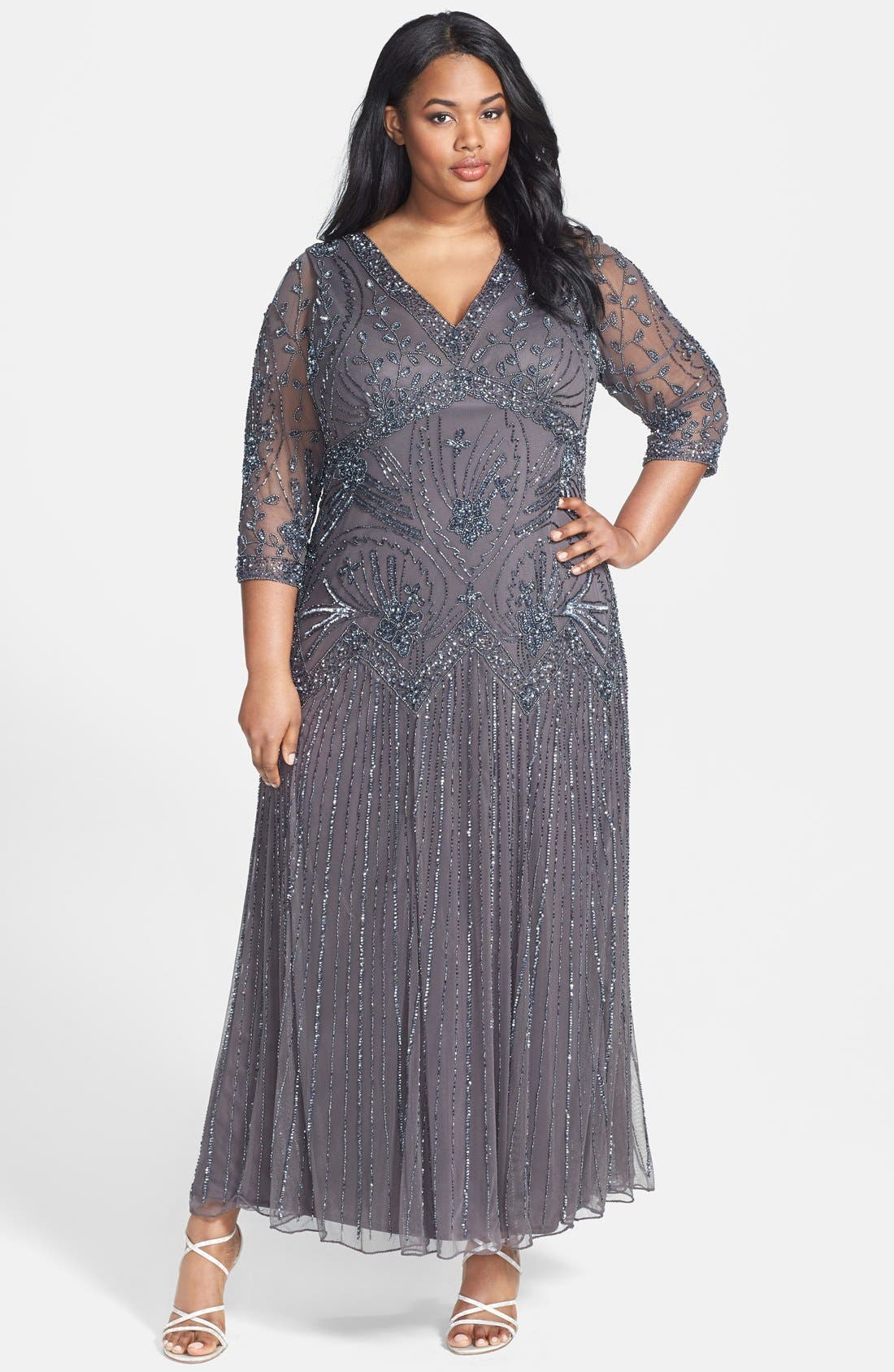 Main Image - Pisarro Nights Beaded Mesh Dress (Plus Size)