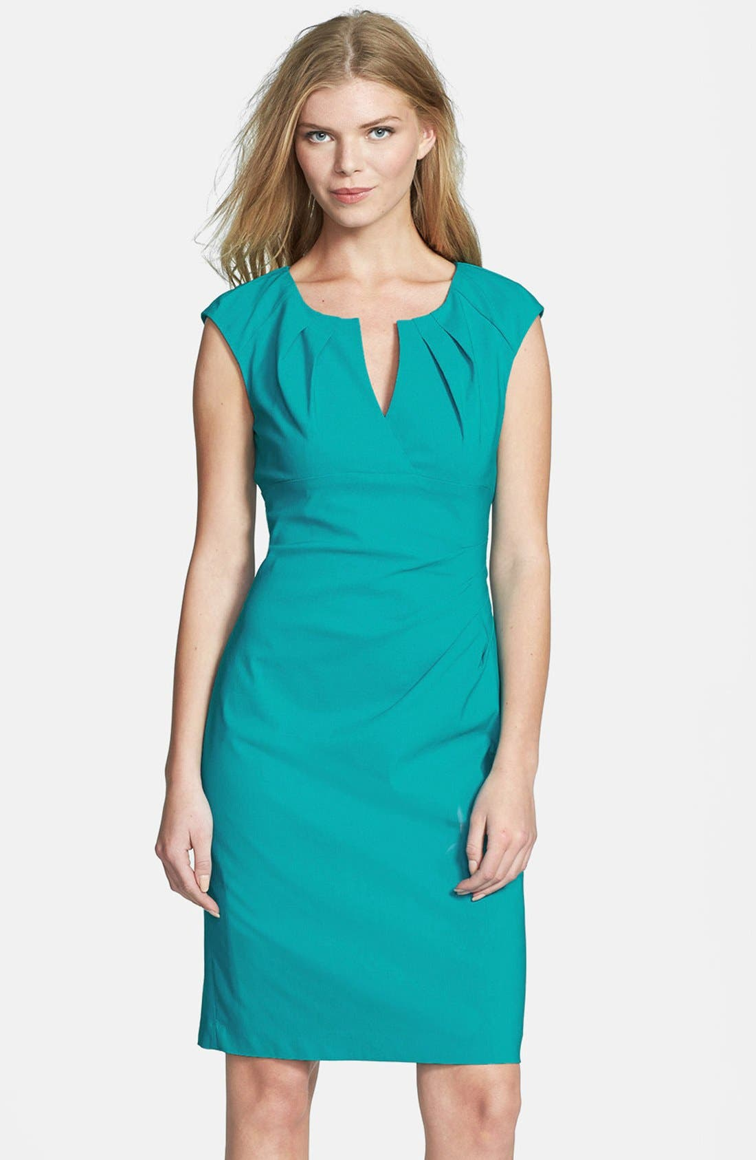 Alternate Image 1 Selected - Adrianna Papell Side Pleat Sheath Dress (Regular & Petite)