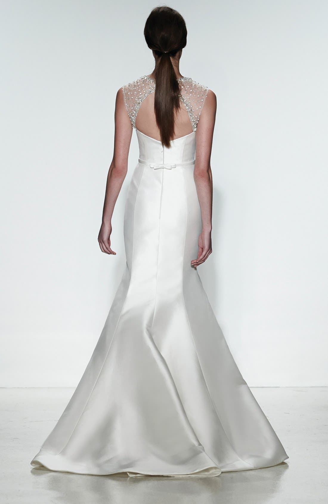 Alternate Image 5  - Amsale 'Lenox' Beaded Illusion Strap Silk Blend Trumpet Dress (In Stores Only)