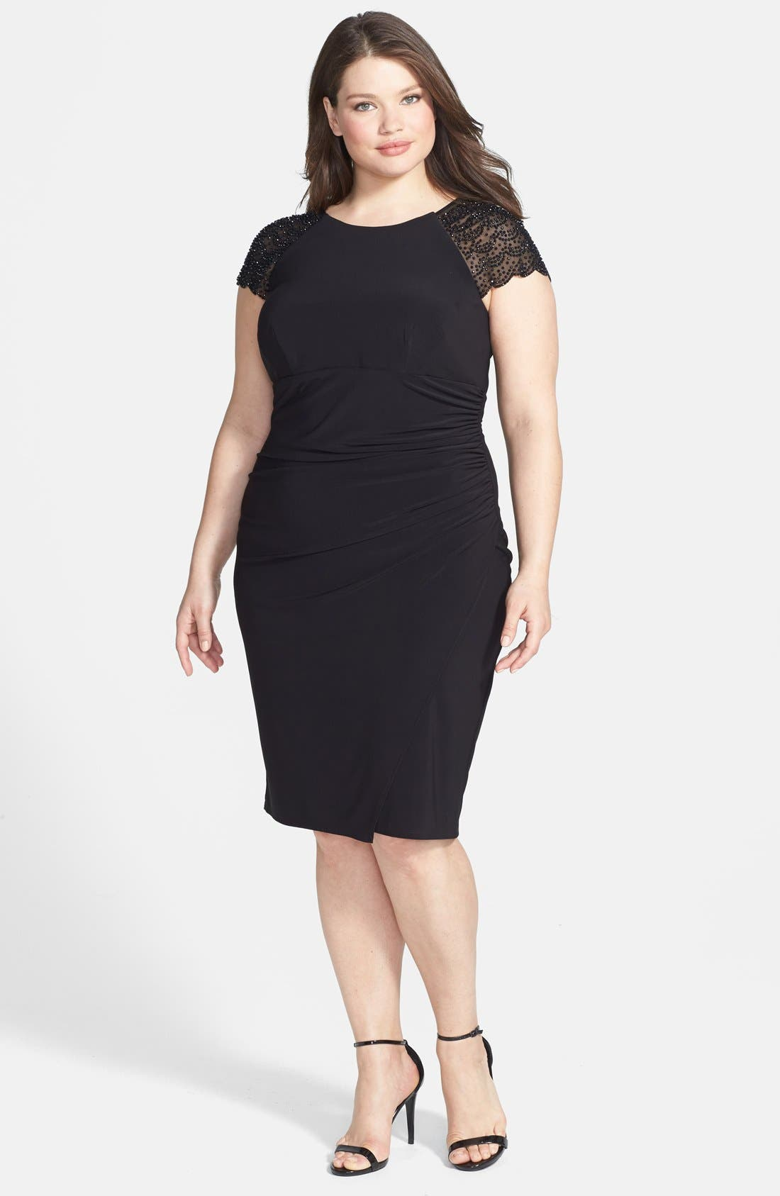Main Image - Betsy & Adam Embellished Cap Sleeve Cocktail Dress (Plus Size)