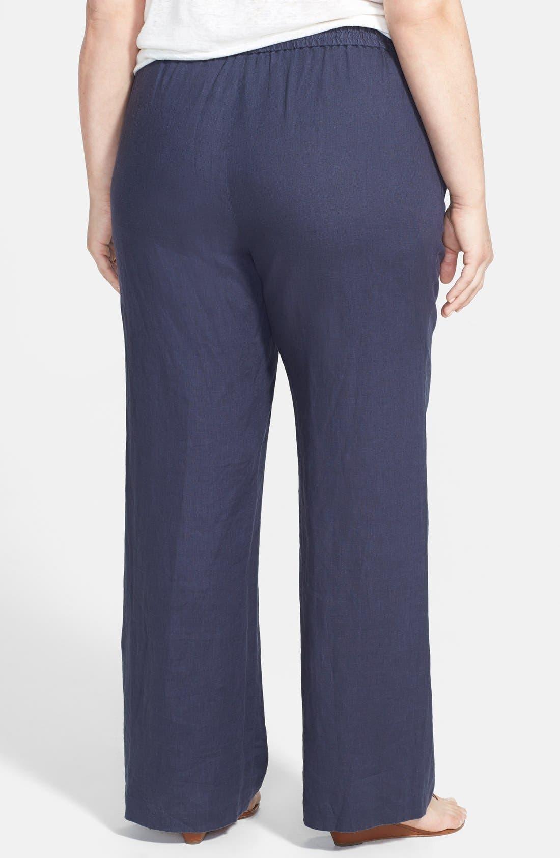 Alternate Image 2  - MICHAEL Michael Kors Linen Wide Leg Pants (Plus Size)