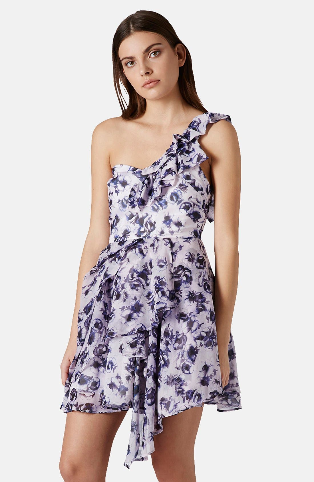 Main Image - Topshop One-Shoulder Floral Chiffon Dress
