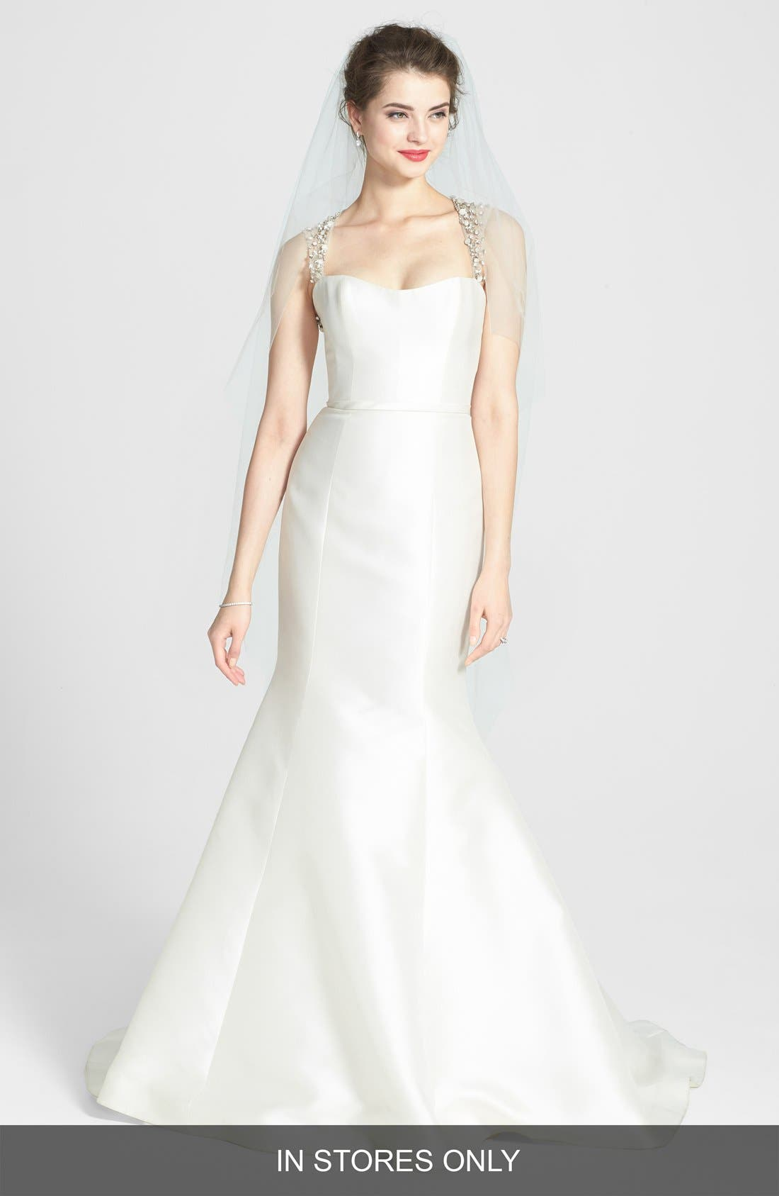 Alternate Image 1 Selected - Amsale 'Lenox' Beaded Illusion Strap Silk Blend Trumpet Dress (In Stores Only)