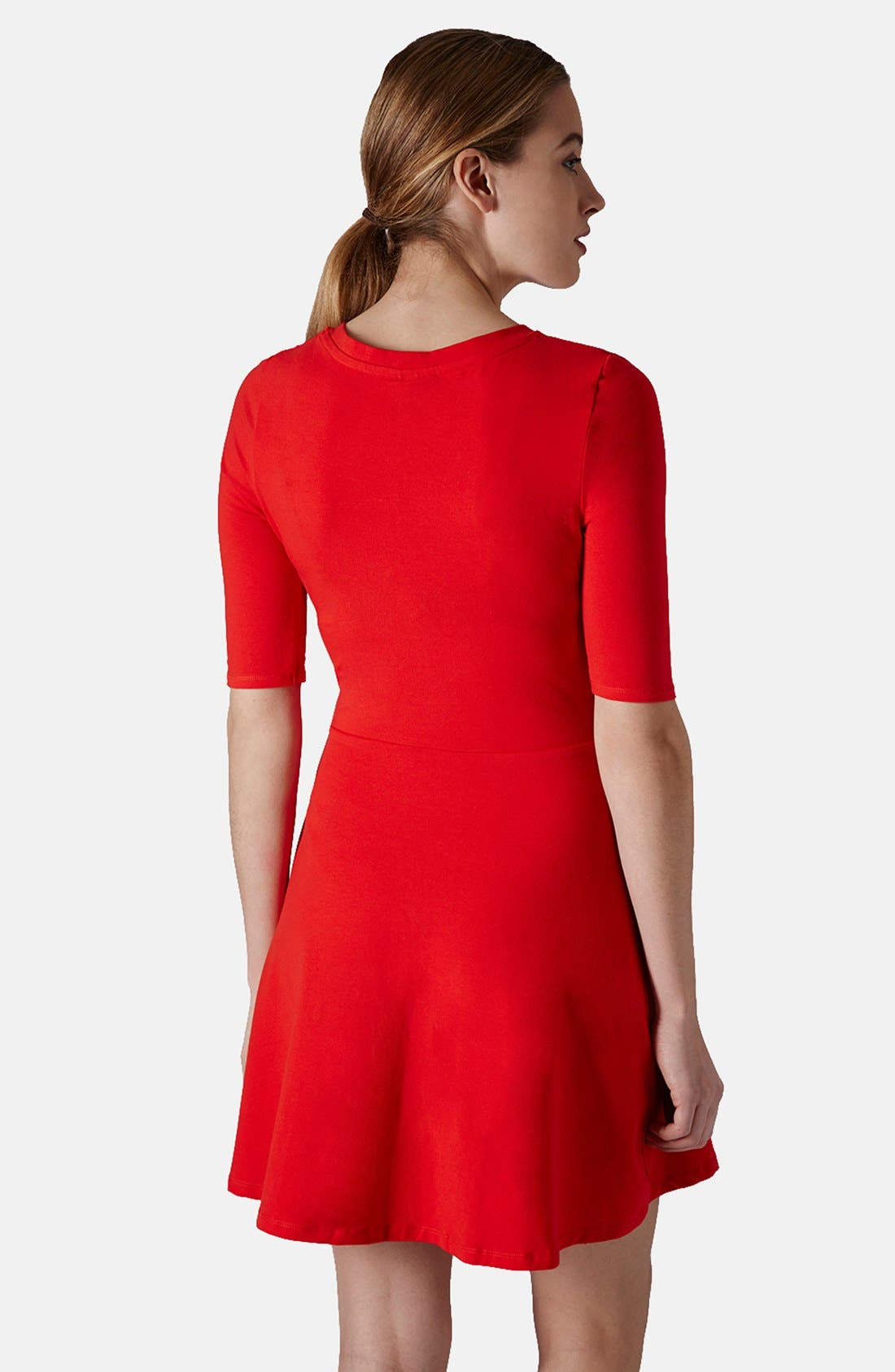 Alternate Image 2  - Topshop Elbow Sleeve Jersey Fit & Flare Dress