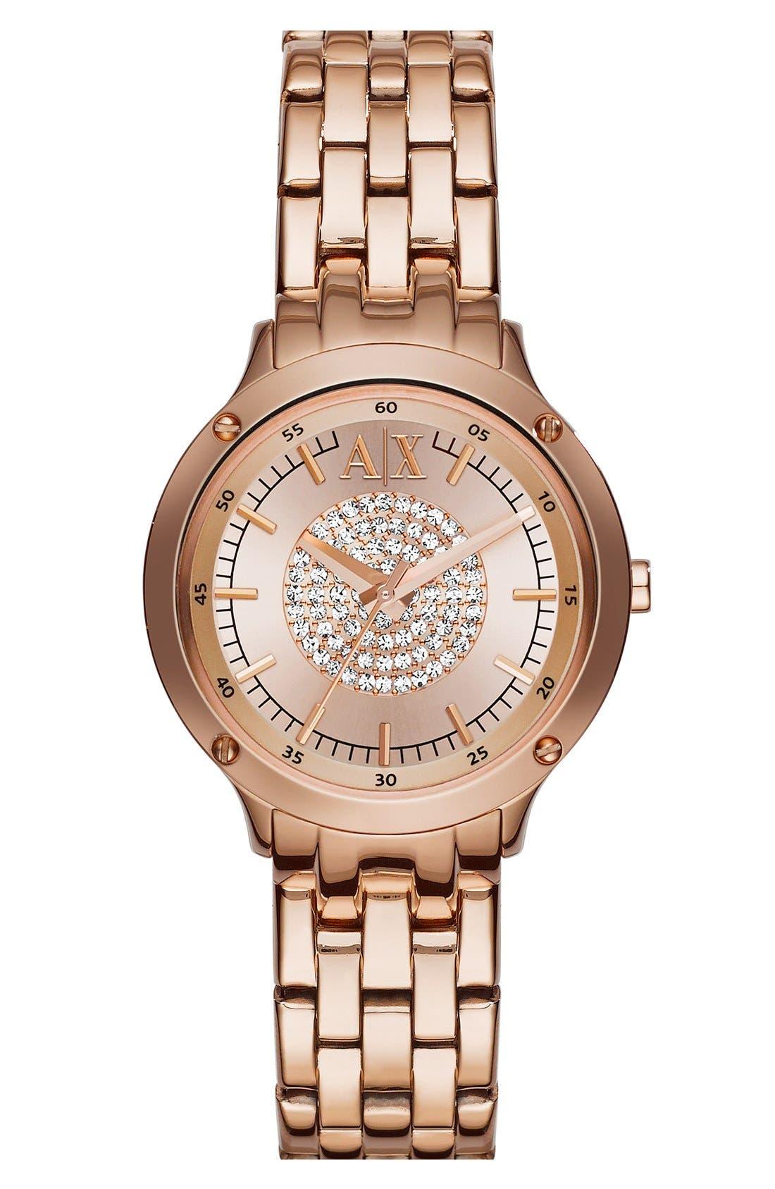 Main Image - AX Armani Exchange Pavé Dial Bracelet Watch, 30mm