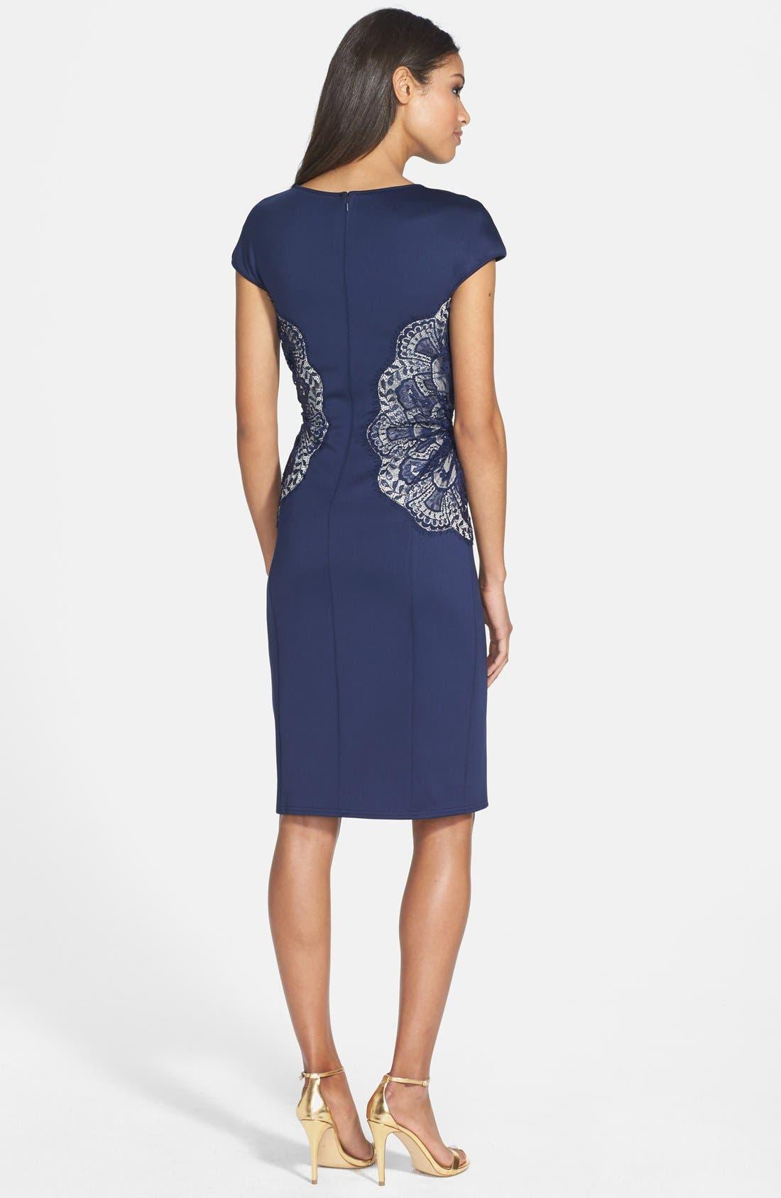 Alternate Image 2  - Tadashi Shoji Lace Inset Jersey Dress