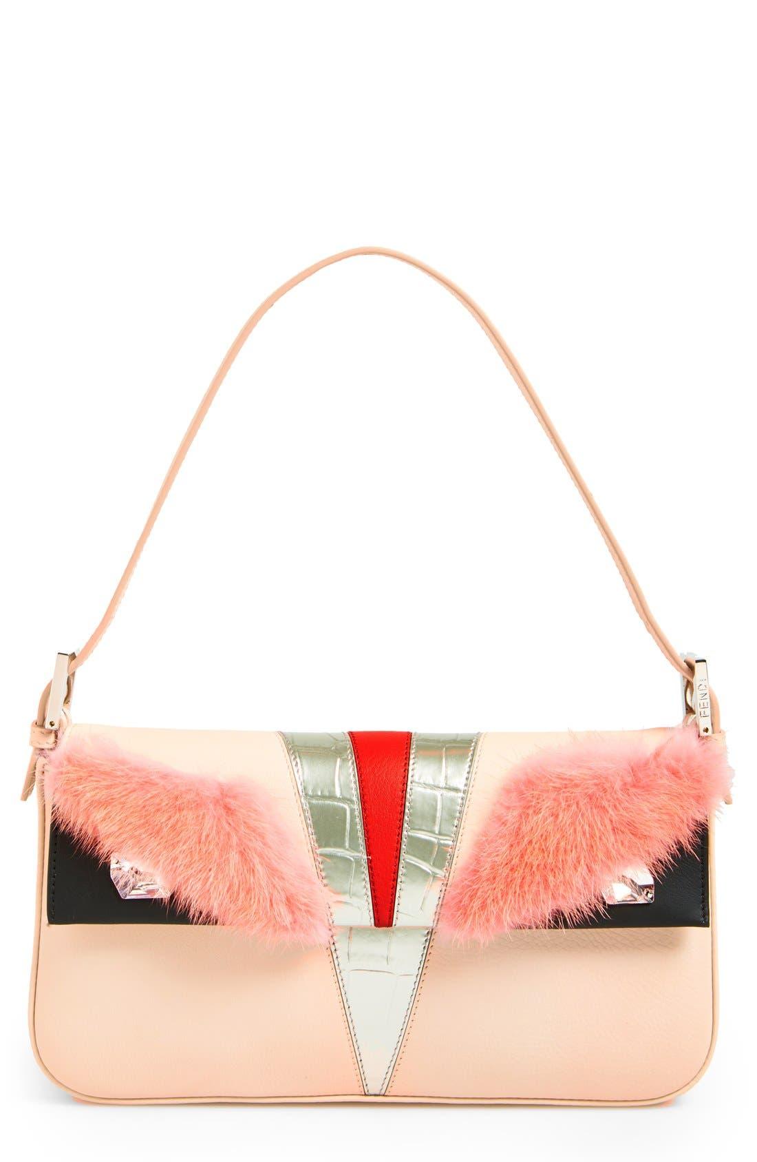 Alternate Image 1 Selected - Fendi 'Monster' Leather & Genuine Mink Fur Baguette