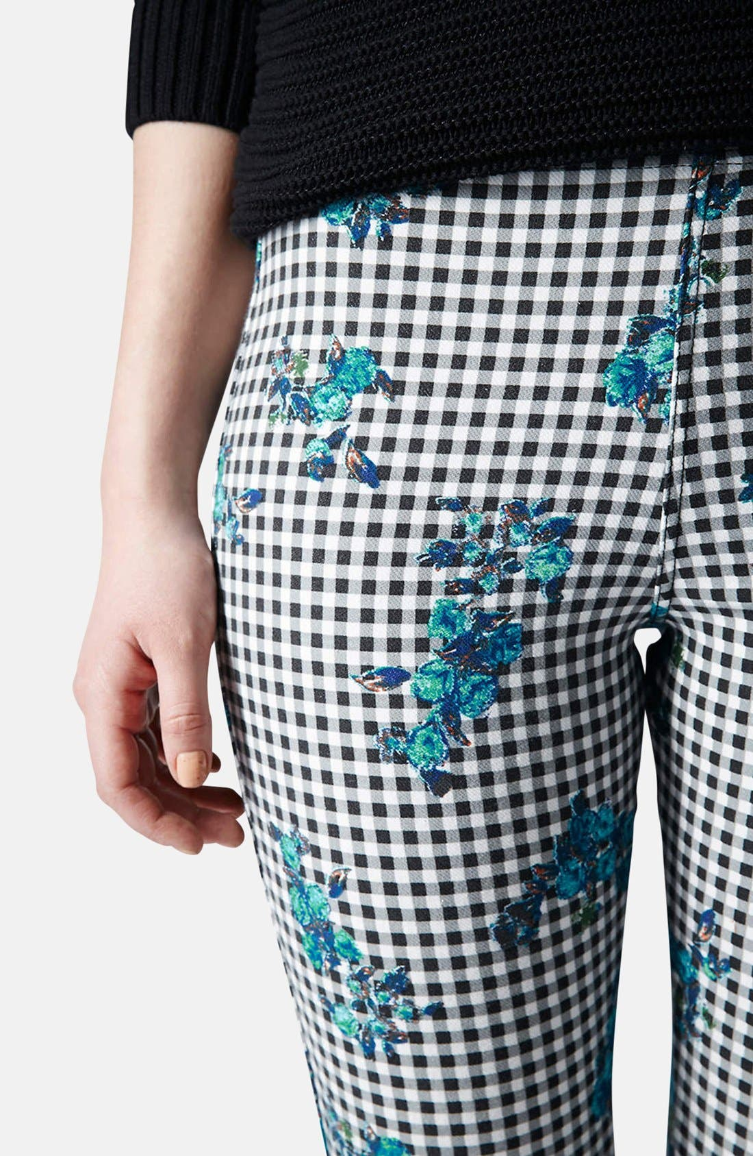 Alternate Image 4  - Topshop Floral Gingham Denim Leggings