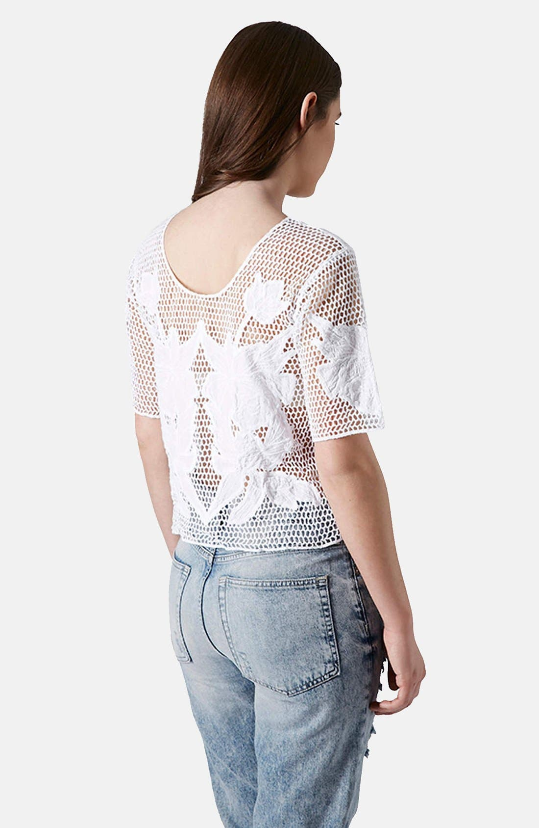 Alternate Image 2  - Topshop Flower Appliqué Open Knit Tee
