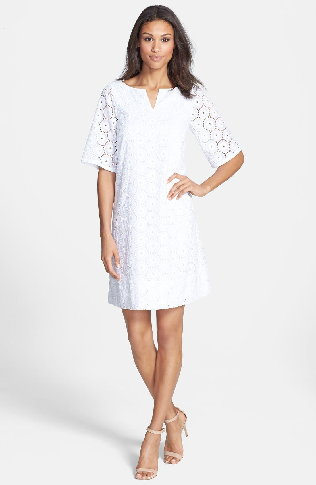 Alternate Image 3  - Adrianna Papell Eyelet Shift Dress
