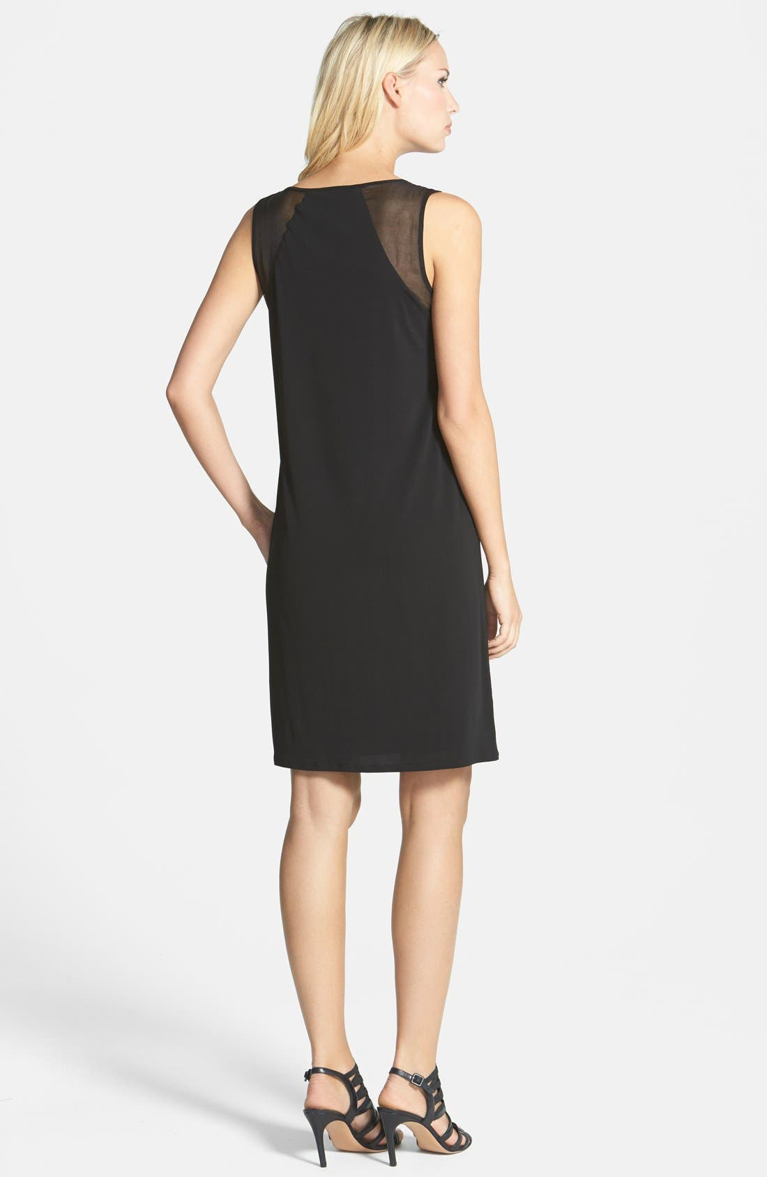 Alternate Image 2  - Eileen Fisher Sheer Shoulder A-Line Silk Shift Dress (Regular & Petite)