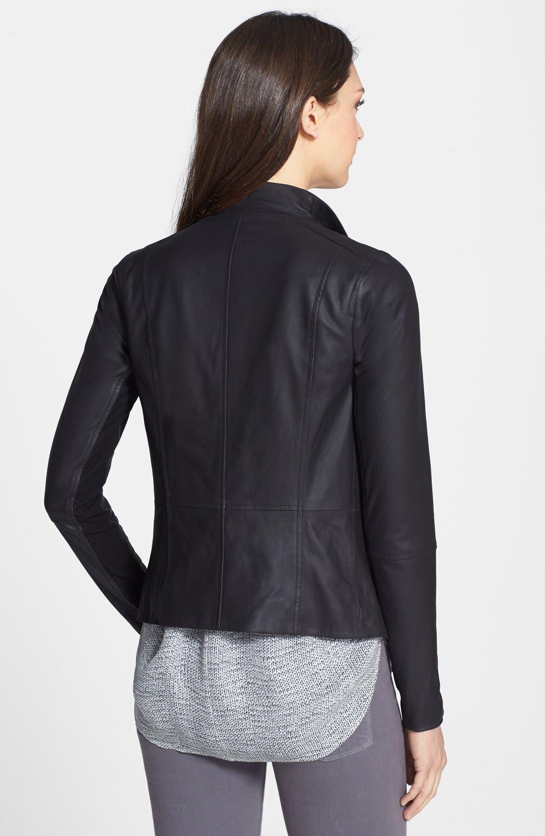 Alternate Image 2  - Vince Drape Neck Leather Jacket
