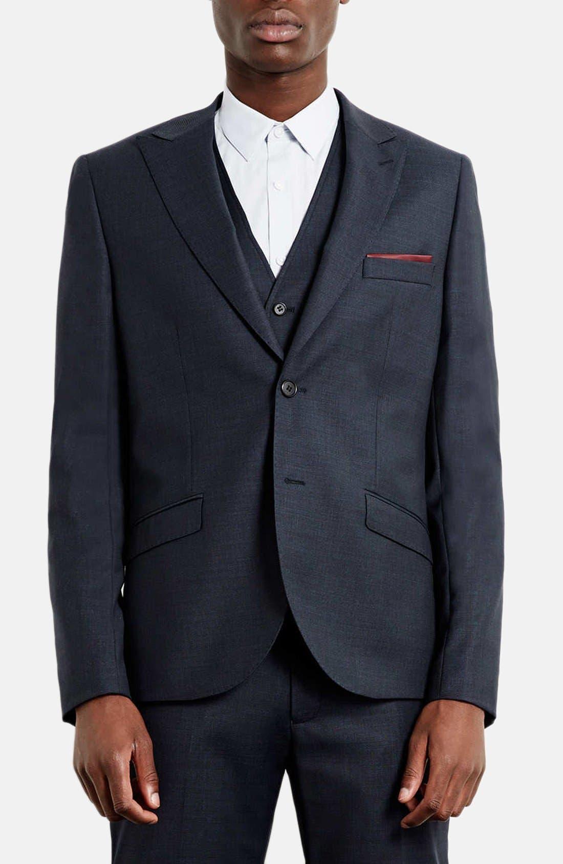 Main Image - Topman Skinny Fit Peak Lapel Wool Blend Sport Coat
