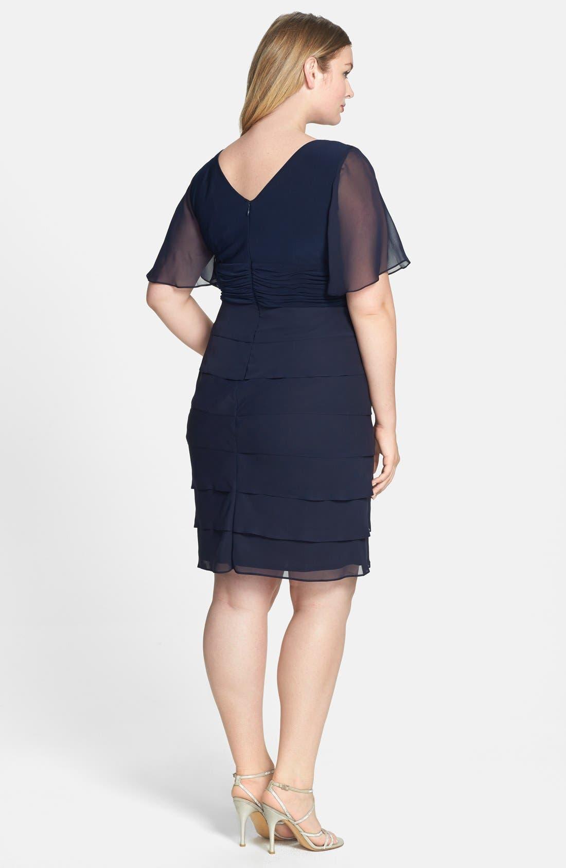 Alternate Image 2  - Jessica Howard 'Artichoke' Flutter Sleeve Chiffon Dress (Plus Size)