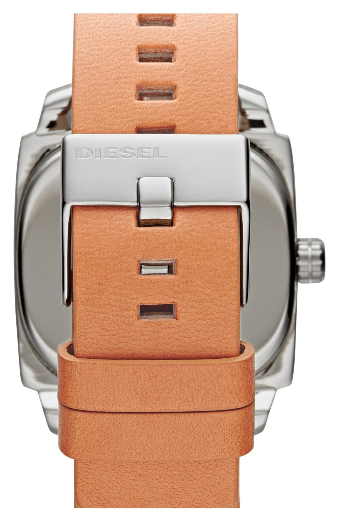 Alternate Image 2  - DIESEL® 'Shifter' Square Leather Strap Watch, 42mm
