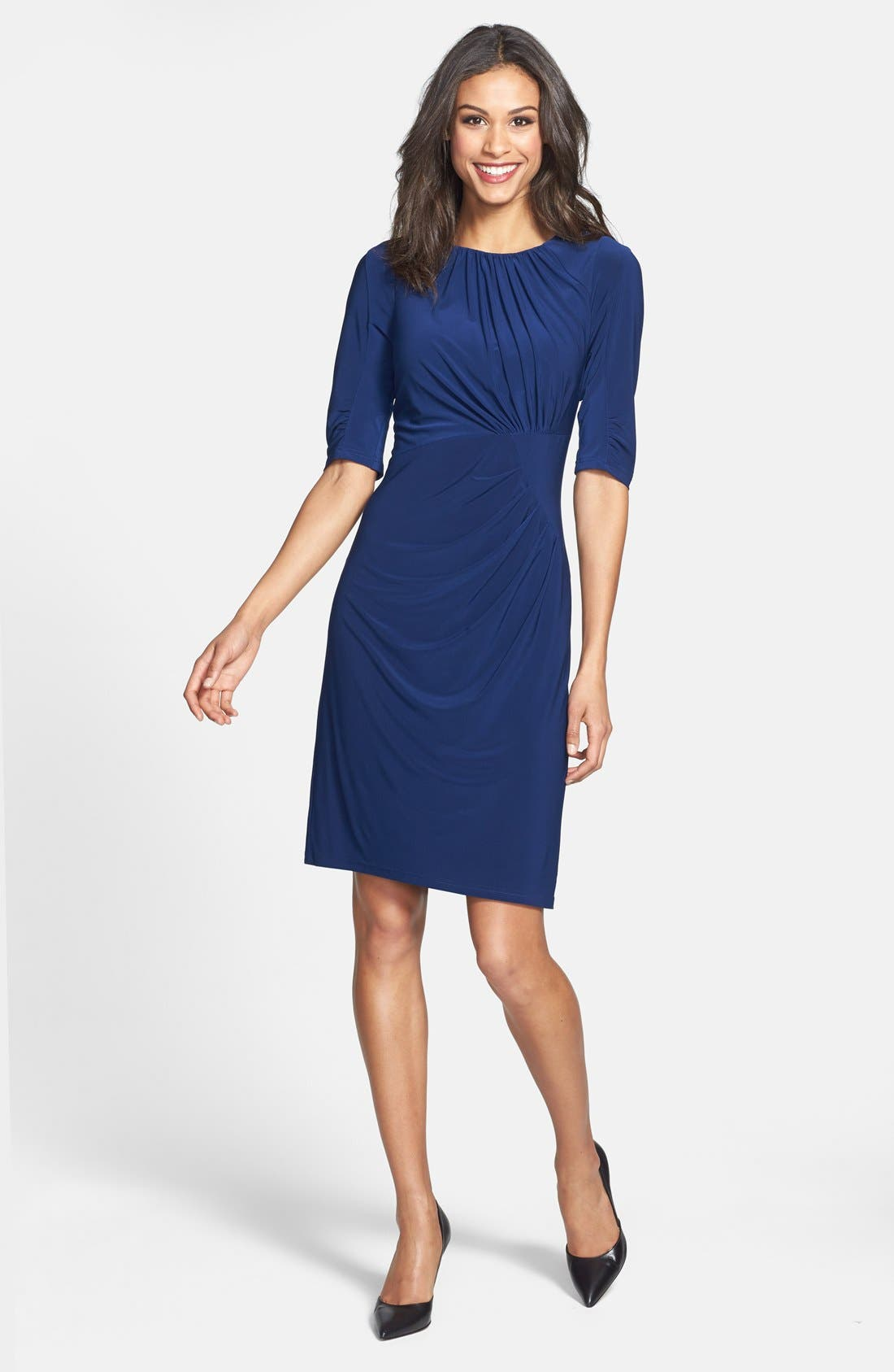 Alternate Image 2  - Adrianna Papell Pleated Matte Jersey Sheath Dress (Online Only)
