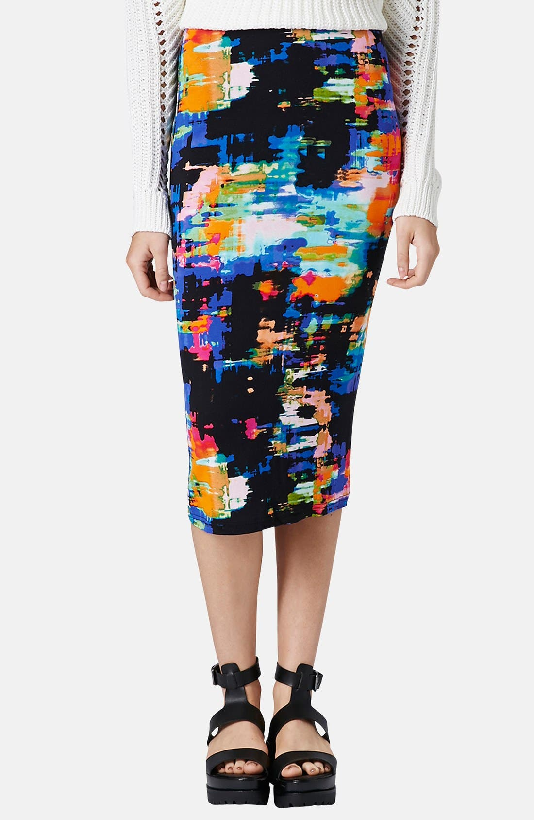 Alternate Image 1 Selected - Topshop Print Tube Skirt