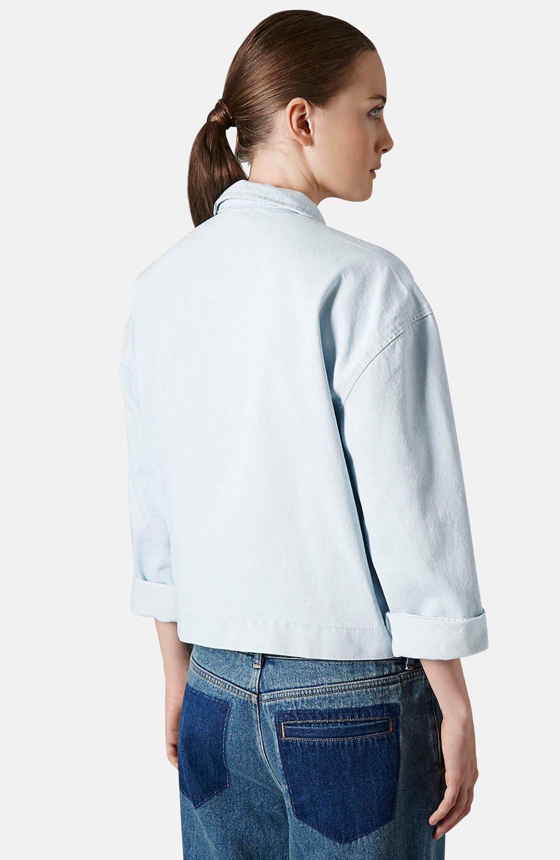Alternate Image 2  - Topshop Boutique Crop Denim Shirt