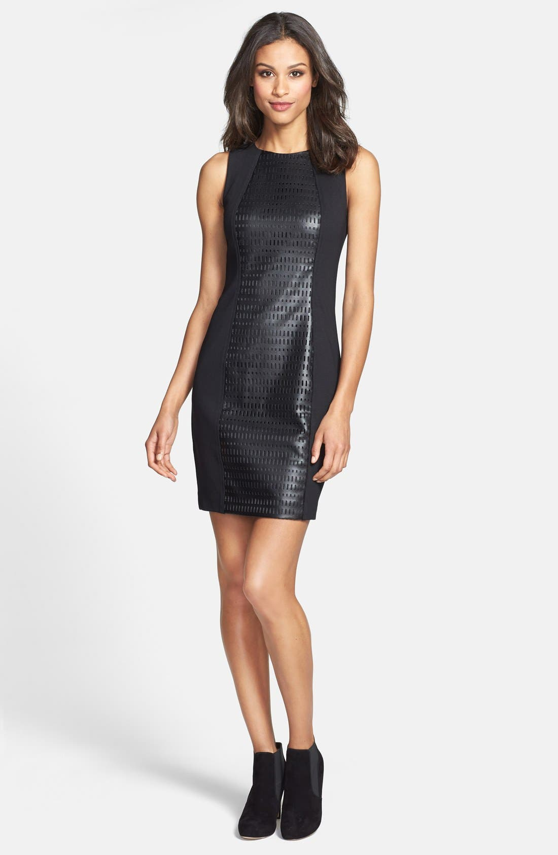 Alternate Image 3  - Trina Turk Laser Cut Faux Leather & Ponte Sheath Dress