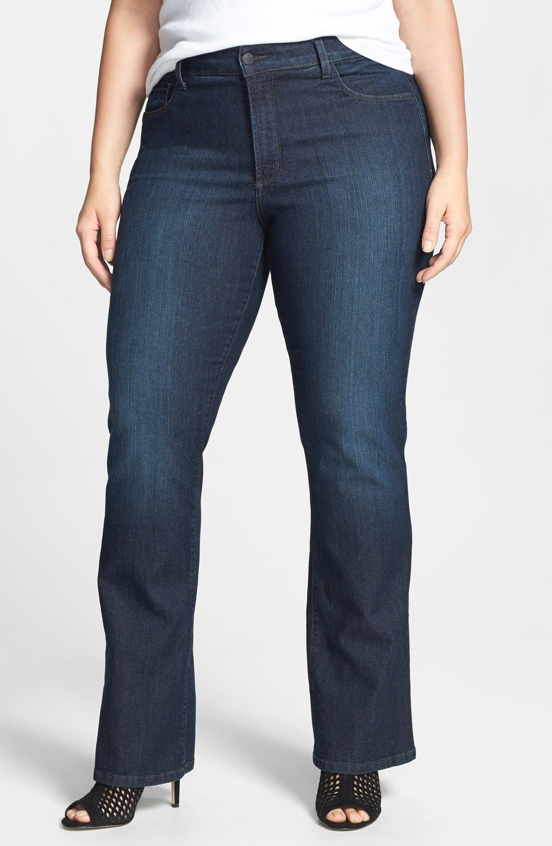 Alternate Image 1 Selected - NYDJ 'Barbara' Embellished Pocket Stretch Bootcut Jeans (Burbank) (Plus Size)