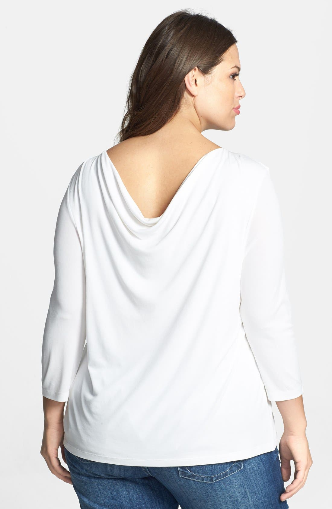 Alternate Image 2  - Eileen Fisher Drape Back Silk Top (Plus Size)