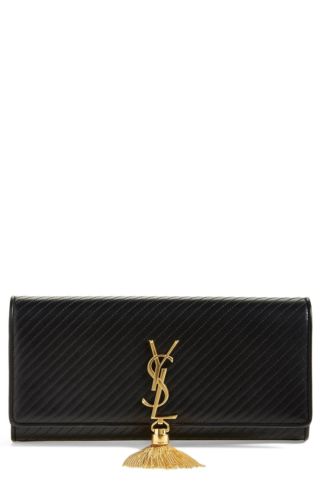 Alternate Image 1 Selected - Saint Laurent 'Cassandre' Quilted Leather Clutch