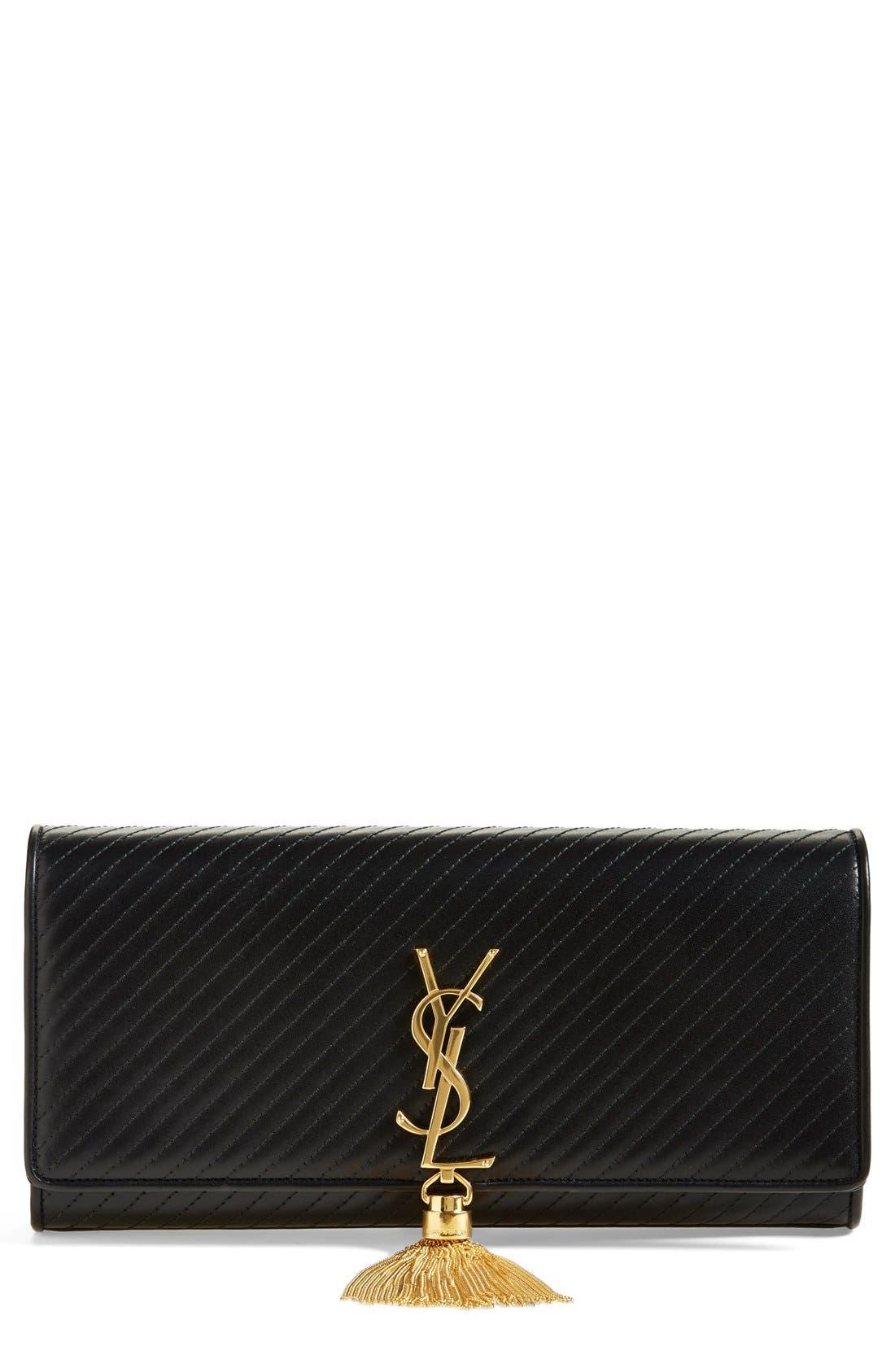Main Image - Saint Laurent 'Cassandre' Quilted Leather Clutch