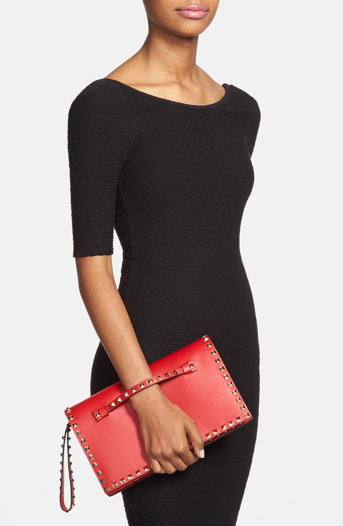 Alternate Image 2  - Valentino 'Rockstud' Nappa Leather Flap Clutch