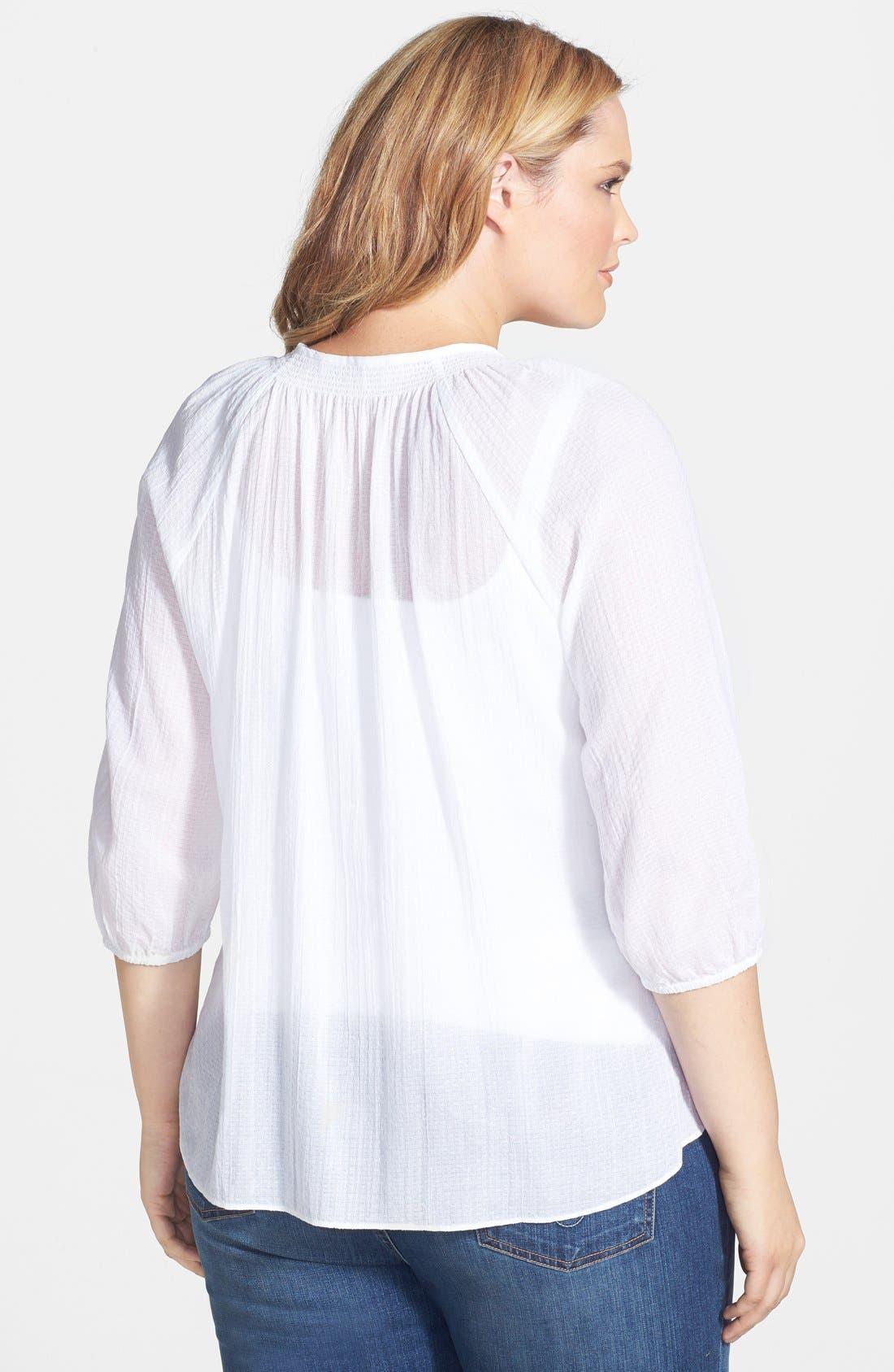 Alternate Image 2  - Sejour Cotton Dobby Blouse (Plus Size)