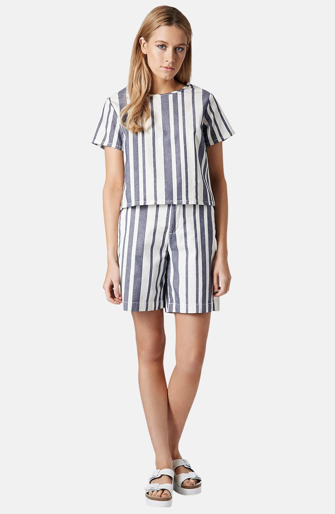 Alternate Image 5  - Topshop Moto Stripe Denim Tee