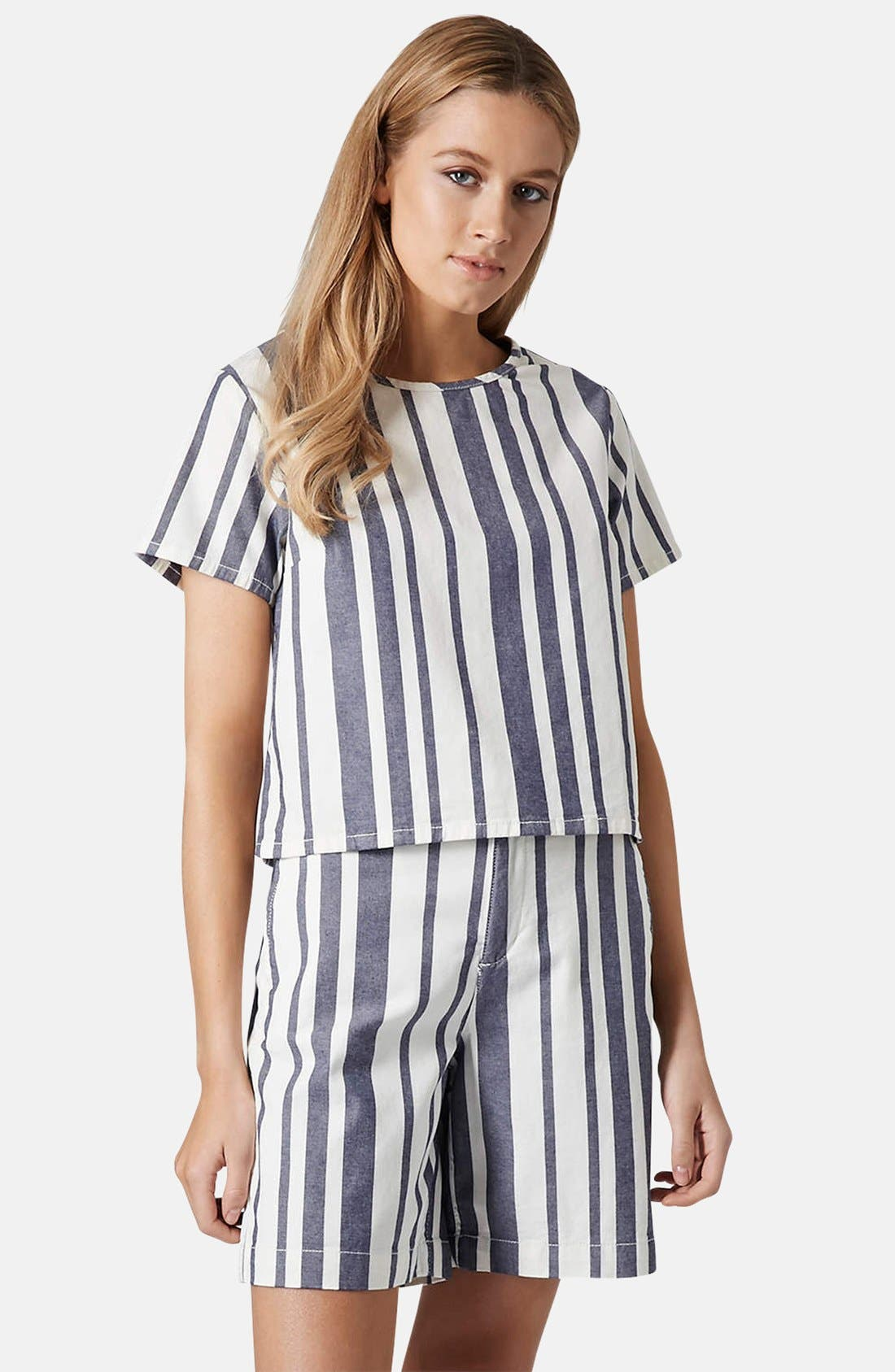 Alternate Image 1 Selected - Topshop Moto Stripe Denim Tee