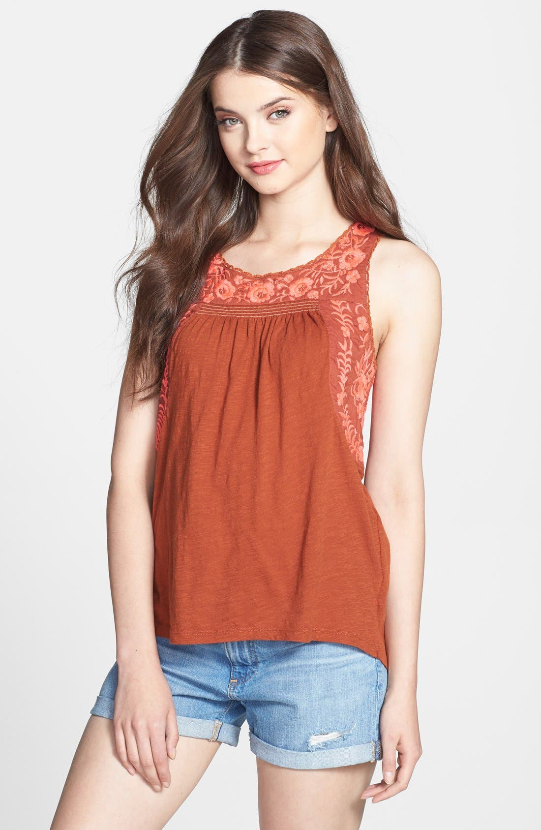 Alternate Image 1 Selected - Lucky Brand 'Rosalina' Embroidered Top