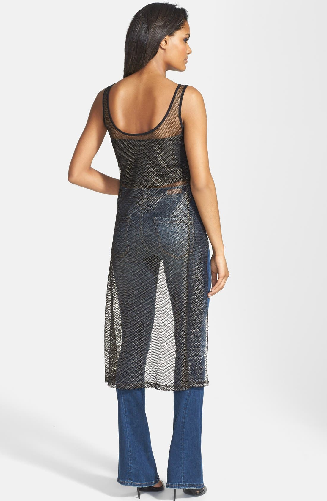 Alternate Image 2  - Madison & Berkeley Metallic Mesh High/Low Tank