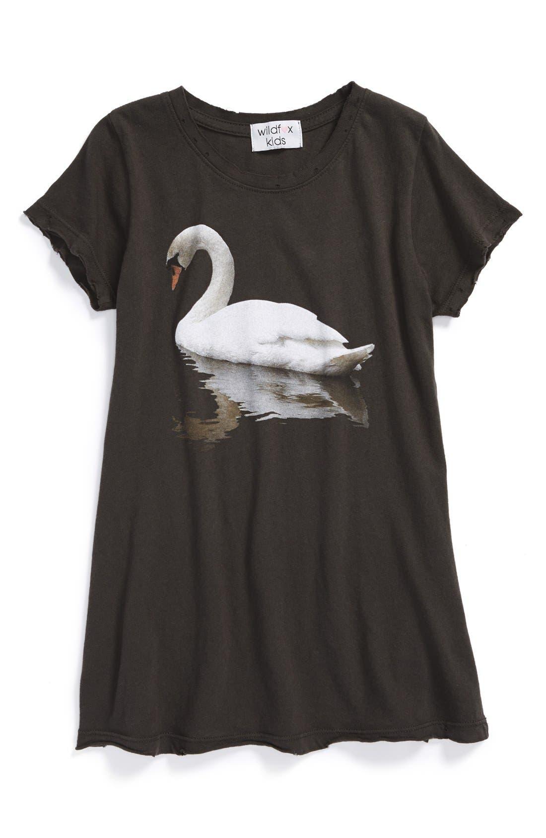 Alternate Image 1 Selected - Wildfox 'Swan Hippie' Screenprint Crewneck Dress (Big Girls)