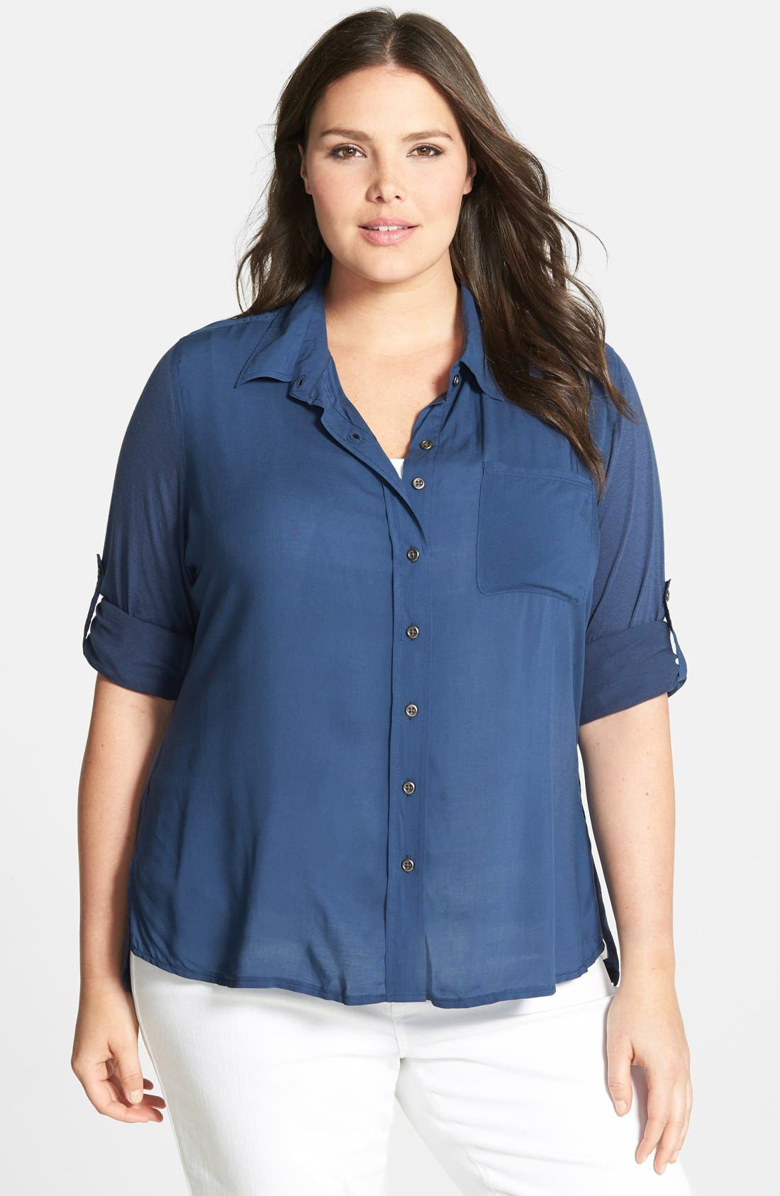 Alternate Image 1 Selected - Seven7 Mixed Media Cotton Roll Sleeve Shirt (Plus Size)